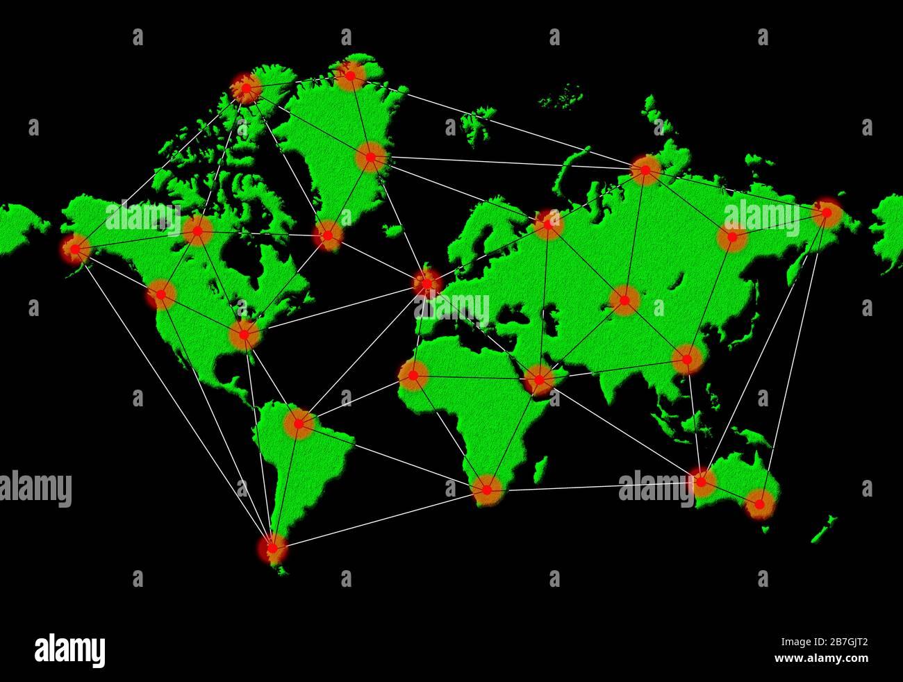 Ilustración para mostrar la propagación mundial de una infección o enfermedad o virus infecciosos en todo el mundo, durante una epidemia o pandemia. Foto de stock