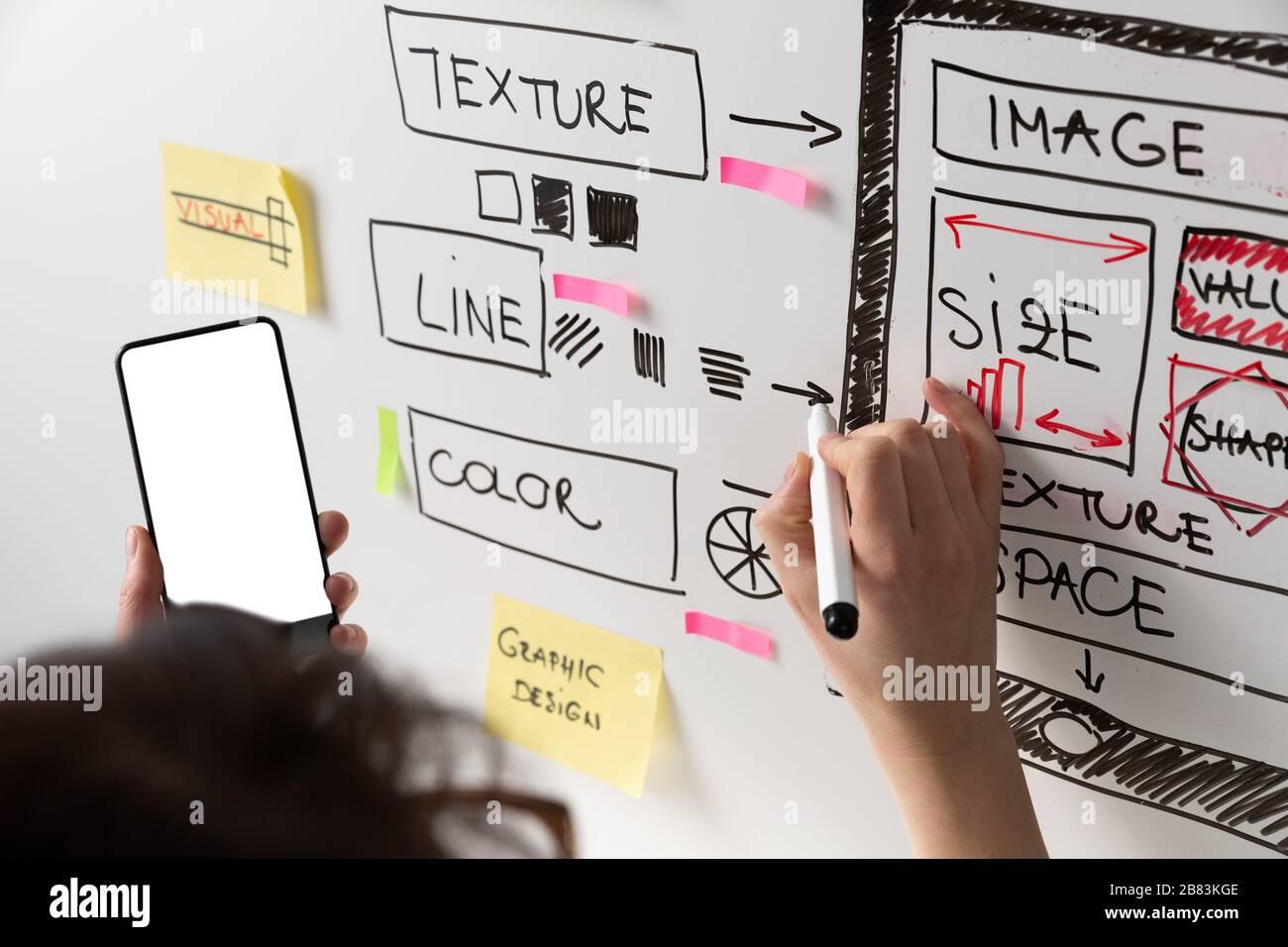 Mujeres diseñador de sitios web de diseño creativo de aplicaciones de desarrollo de plantillas de dibujo marco de diseño wireframe estudio de diseño . Concepto de experiencia del usuario Foto de stock