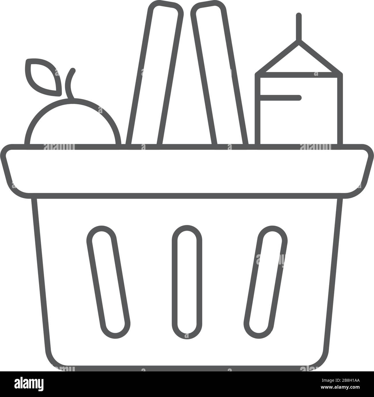Símbolo de icono vectorial de cesta de la compra de comestibles aislado sobre fondo blanco Ilustración del Vector