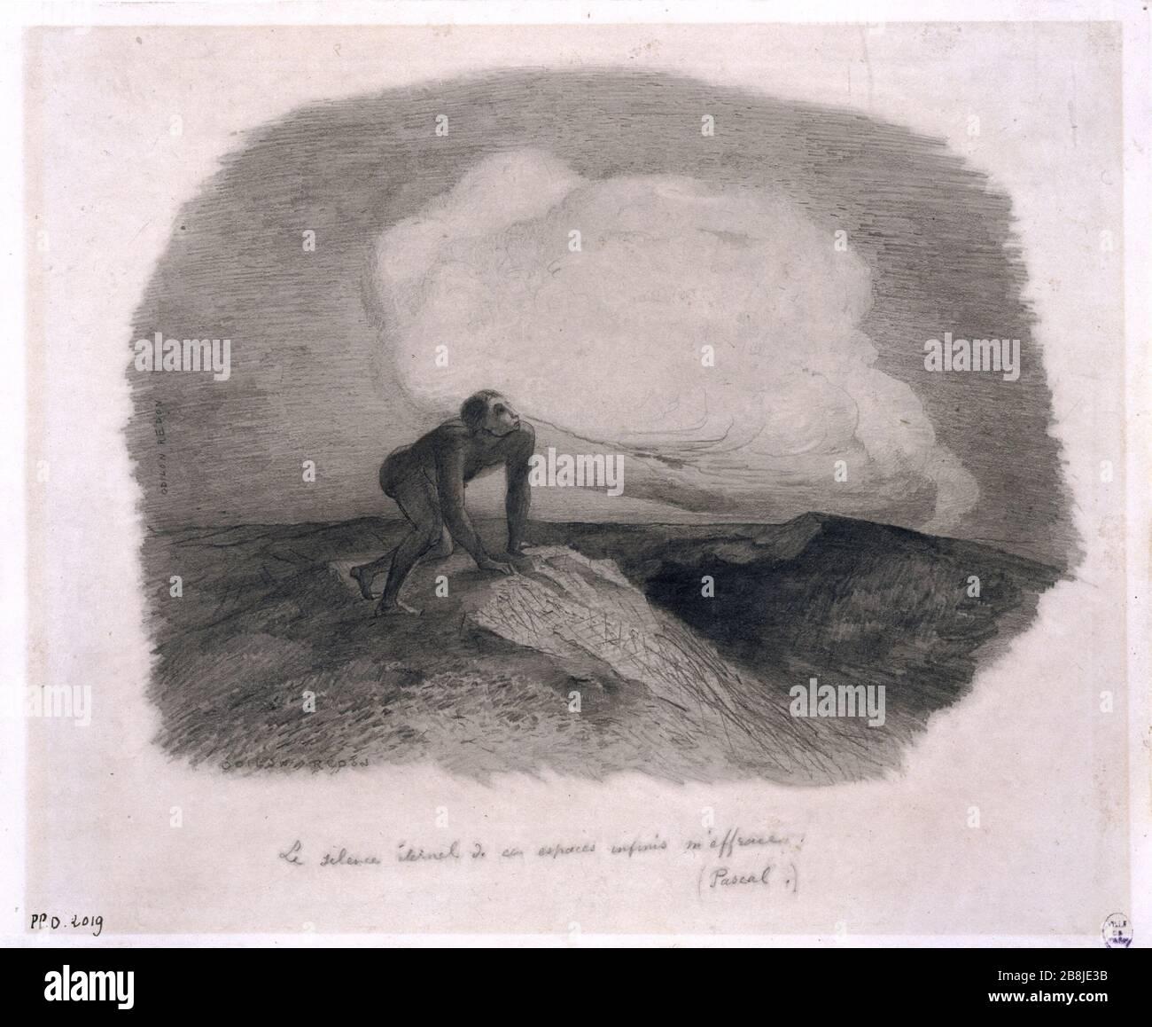 SILENCIO ETERNO DE ESTAS ÁREAS INFINITO me asusta (PASCAL) Odilon Redon (1840-1916). 'Le silence éternel de ces espaces infinis m'effraie (Pascal)'. Crayón. Musée des Beaux-Arts de la Ville de París, Petit Palais. Foto de stock
