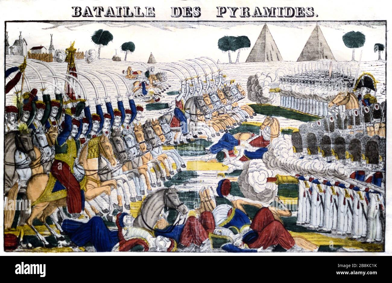 La batalla de las Pías de Egipto (1798) alias la batalla de Embeh durante la invasión francesa de Egipto bajo Napoleón Bonaparte. La batalla formó parte de las guerras revolucionarias francesas y fue una victoria francesa decisiva contra el ejército otomano. c19º Grabado. Foto de stock