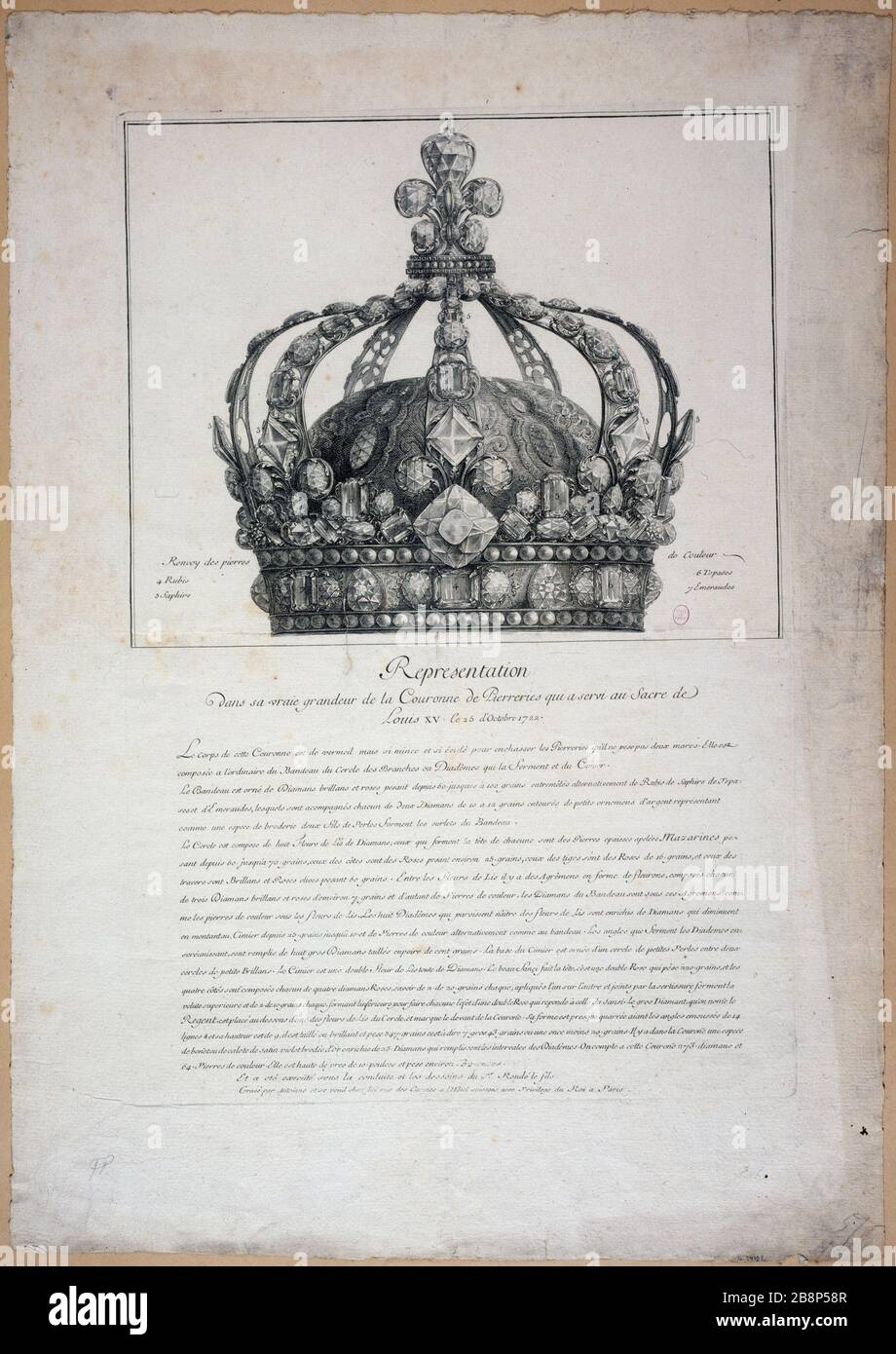 REPRESENTACIÓN EN SU VERDADERA GRANDEZA PIEDRAS DE LA CORONA QUE SIRVIERON EN SACRE LOUIS XV ANTOINE. 'Représentation dans sa vraie grandeur de la couronne de pierreries qui a servi au sacre de Louis XV le 25 octobre 1722'. Estampe. París, musée Carnavalet. Foto de stock