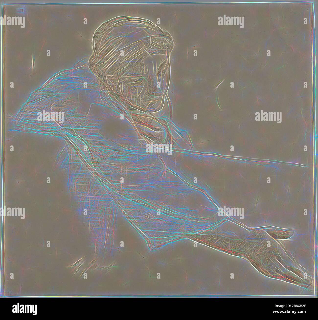 Mujer alcanzando sobre un Muro, estudio para la vida de San Luis, Rey de Francia, c. 1878, Alexandre Cabanel, francés, 1823-1889, Francia, tiza negra y roja, con toques de tropiezo, sobre papel de color crema, 268 × 284 mm, Reimaginado por Gibon, diseño de alegre y cálida brillantez de rayos de luz. Arte clásico reinventado con un toque moderno. Fotografía inspirada en el futurismo, abrazando la energía dinámica de la tecnología moderna, el movimiento, la velocidad y la revolución de la cultura. Foto de stock