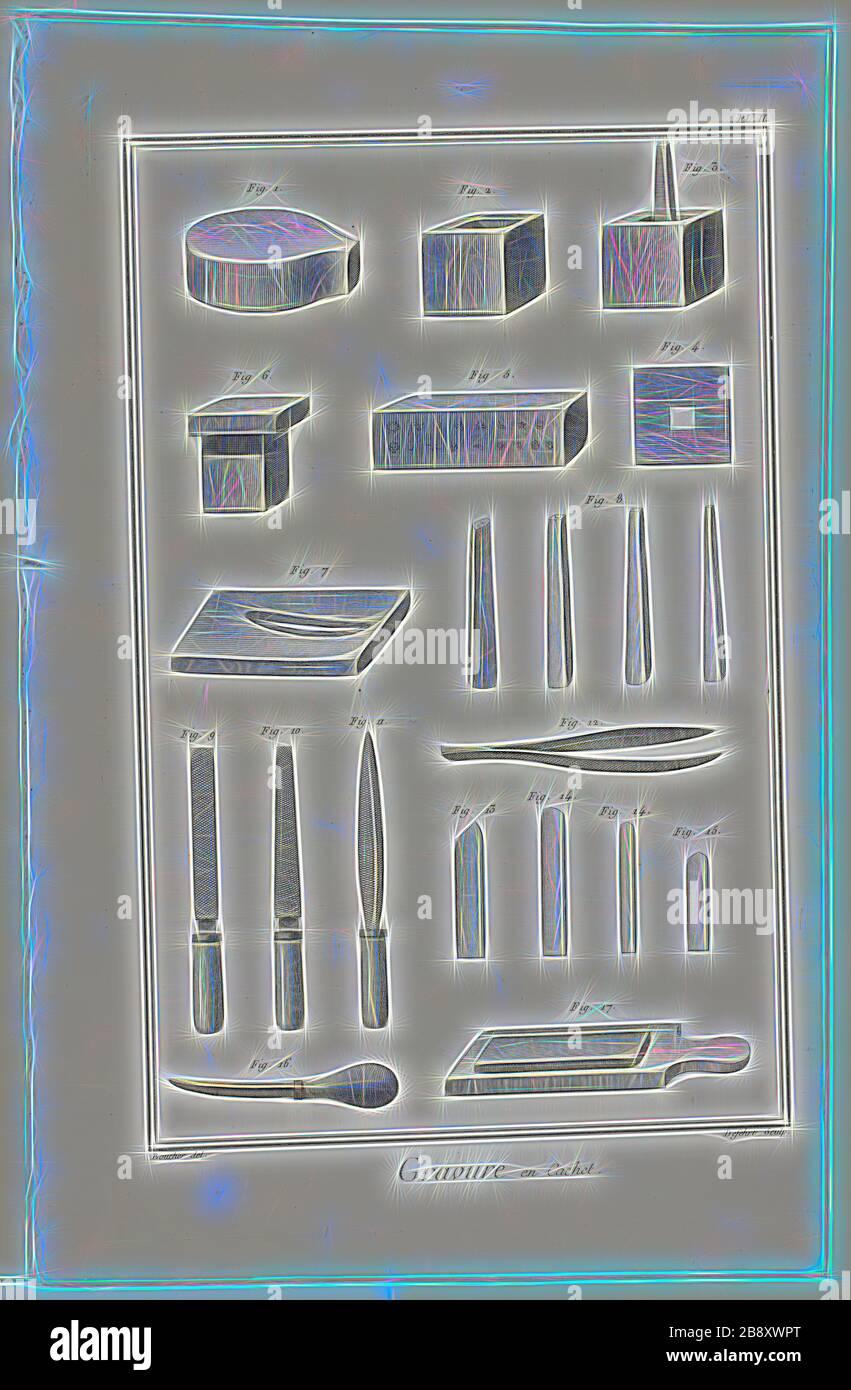 Seal Engraving, de Encyclopédie, 1762/77, A. J. Defehrt (francés, activo siglo XVIII), después de Antoine-Gaspard Boucher d'Argis (francés, 1708-1791), publicado por André le Breton (francés, 1708-1779), Michel-Antoine David (francés, c. 1707-1769), Laurent Durand (francés, 1712-1763), y Antoine-Claude Briasson (francés, 1700-1775), Francia, Grabado sobre papel de color crema, 315 × 200 mm (imagen), 355 × 225 mm (placa), 390 × 255 mm (hoja), Reimaginado por Gibon, diseño de brillo cálido y alegre y rayos de luz. Arte clásico reinventado con un toque moderno. Fotografía inspirada en el futuris Foto de stock