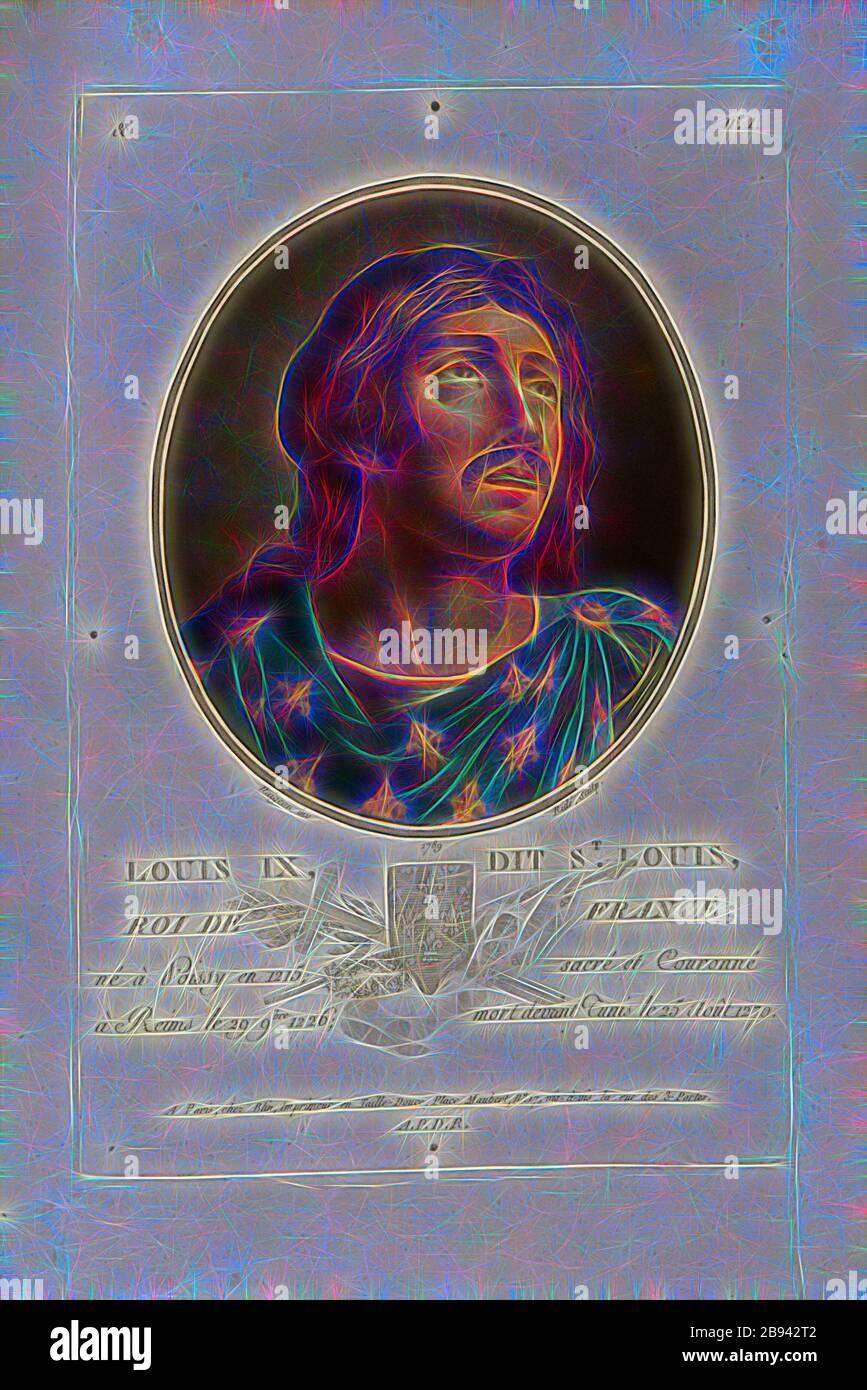Louis IX, conocido como San Luis, Rey de Francia, Luis IX, también Luis el Santo, Rey de Francia, firmado: Naigeon (inv.), Ridé (sculp.), Chez Blin, & no 1, Naigeon (inv.), Ridé (sc.), Blin (chez), Antoine François Sergent-Marceau: Retratos de grandes hommes, femmes illustres et sujets mémorables de France: Gravés et imprimés en couleurs. Dédié au Roi. Bd 1. París: chez Blin, Imprimeur en Taille-Douce, [1786-1792], Reimaginado por Gibon, diseño de alegre y cálida brillantez de brillo y rayos de luz. Arte clásico reinventado con un toque moderno. Fotografía inspirada en el futurismo, abrazando a dyn Foto de stock