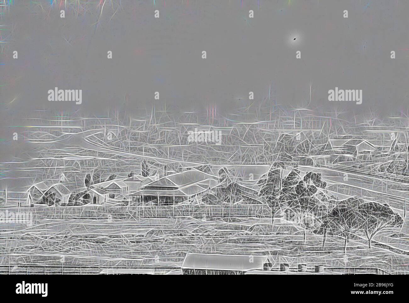 Negativo - Melbourne, Victoria, alrededor de 1885, Melbourne de St Kilda Rd., Reimaginado por Gibon, diseño de cálido y alegre resplandor de brillo y rayos de luz. Arte clásico reinventado con un toque moderno. Fotografía inspirada en el futurismo, abrazando la energía dinámica de la tecnología moderna, el movimiento, la velocidad y la revolución de la cultura. Foto de stock