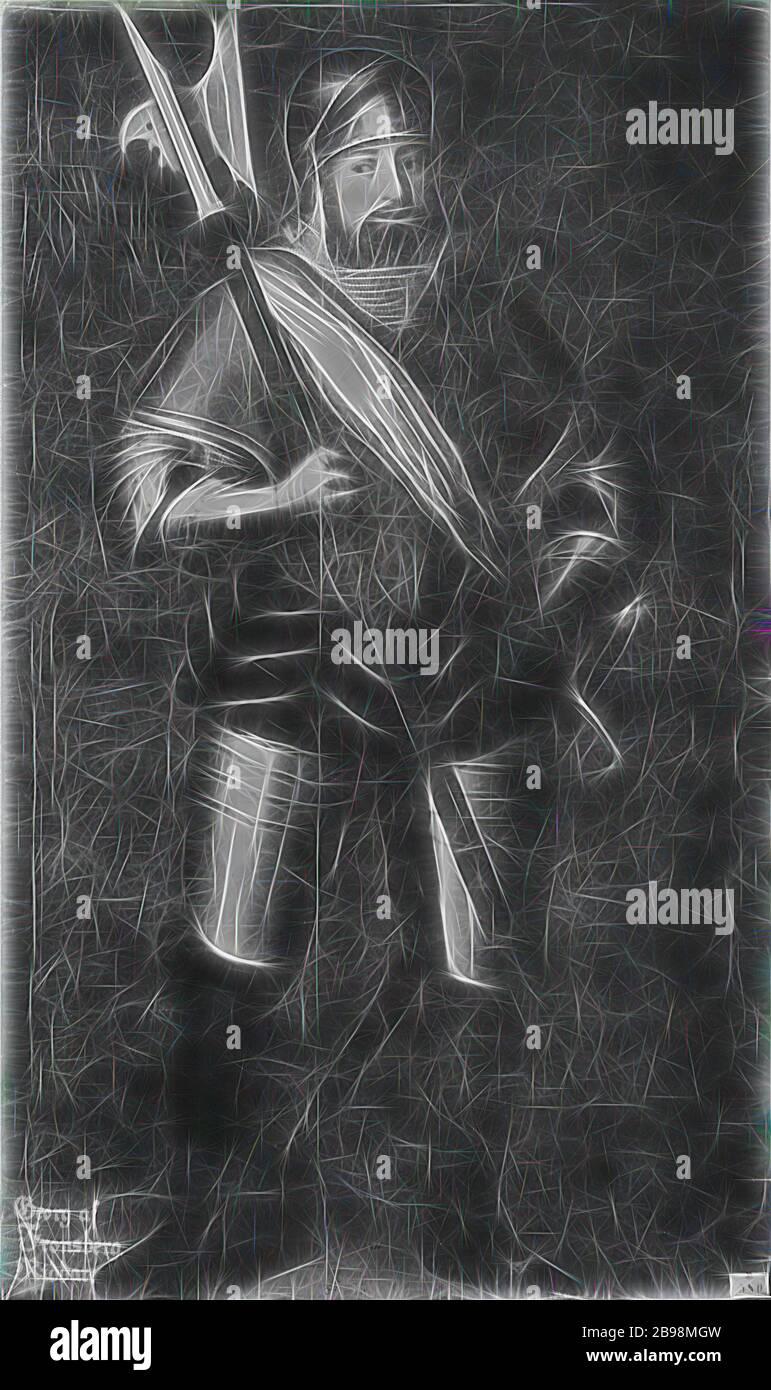 David Frumerie, Georg von Frundsberg, 1475-1528, pintura, siglo 17, óleo sobre lienzo, altura, 196 cm (77.1 pulgadas), ancho, 119 cm (46.8 pulgadas), Reimaginado por Gibon, diseño de cálido y alegre brillo y rayos de luz. Arte clásico reinventado con un toque moderno. Fotografía inspirada en el futurismo, abrazando la energía dinámica de la tecnología moderna, el movimiento, la velocidad y la revolución de la cultura. Foto de stock