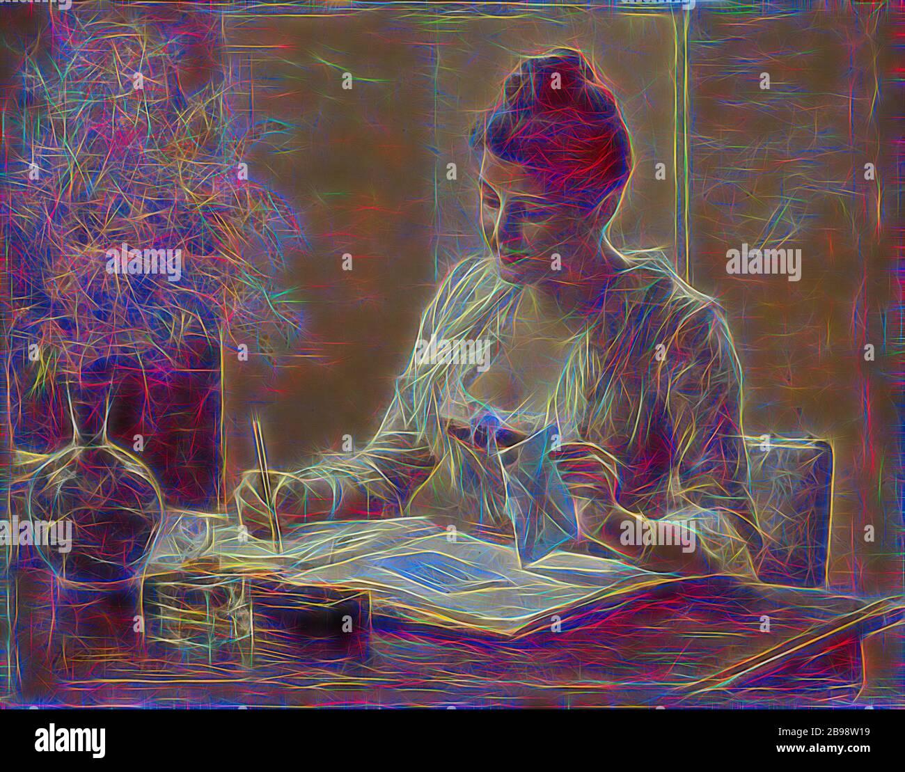 Albert Edelfelt, Lady Writing a Letter, Lady Writing Letter, painting, 1887, Oil on panel, Height, 29 cm (11.4 pulgadas), Width, 37 cm (14.5 pulgadas), Signed, A, Edelfelt, , Reimaged by Gibon, diseño de brillo alegre y cálido y radiante de rayos de luz. Arte clásico reinventado con un toque moderno. Fotografía inspirada en el futurismo, abrazando la energía dinámica de la tecnología moderna, el movimiento, la velocidad y la revolución de la cultura. Foto de stock