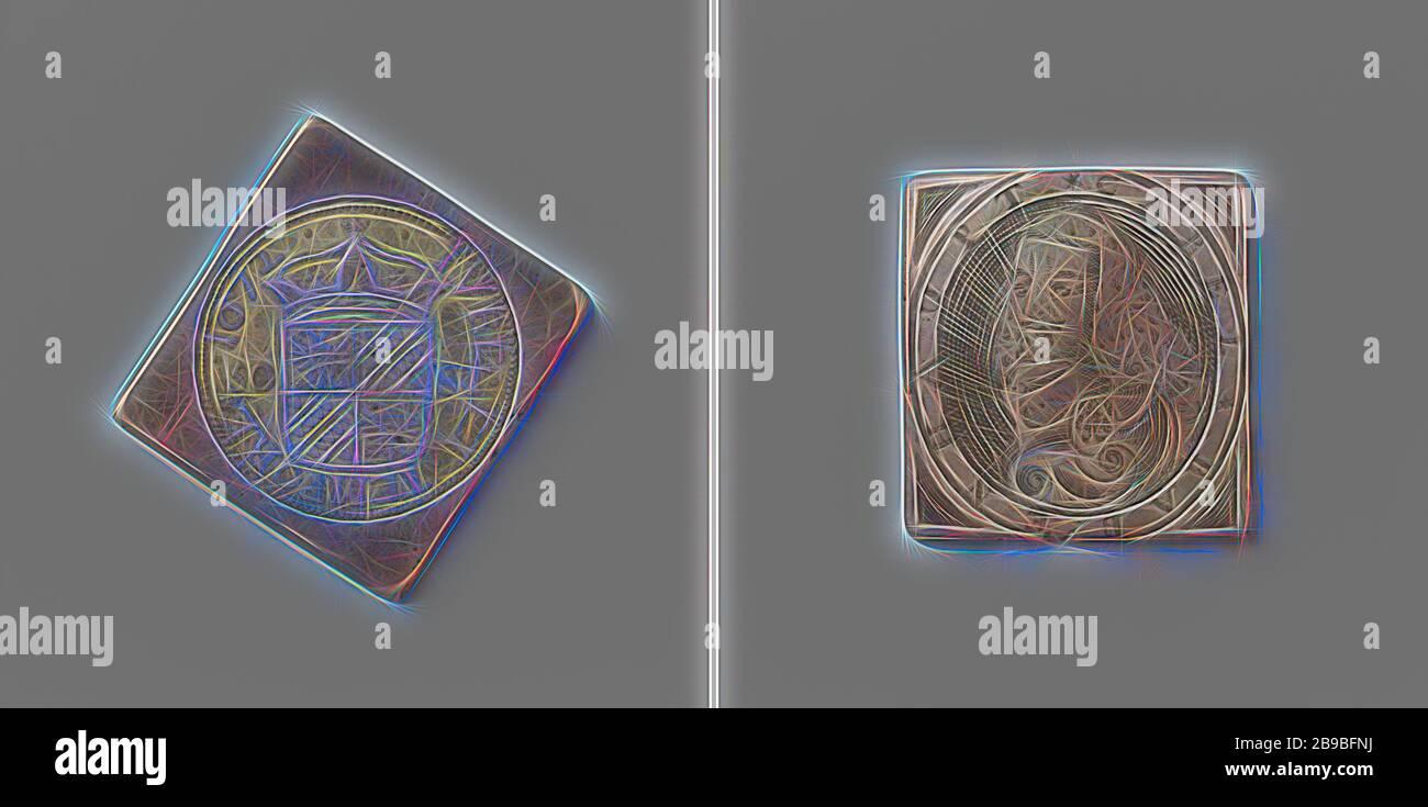 Asedio de Groningen, moneda de emergencia con retrato de Karl Rabenhaupt, moneda de emergencia en forma de diamante con esquinas redondeadas. Anverso: Escudo de armas coronado (sello grande) entre la indicación de valor dentro de una inscripción. Reverso: Busto de Rabenhaupt a la izquierda, dentro de un círculo, Groningen, Karl Rabenhaupt (barón von Sucha), anónimo, 1672, plata (metal), grabado, h 4.7 cm × w 4.7 cm × w 28.25 gr, Reimaged by Gibon, diseño de brillo alegre cálido y rayos de luz radiante. Arte clásico reinventado con un toque moderno. Fotografía inspirada en el futurismo, abrazando la energía dinámica de lo moderno Foto de stock