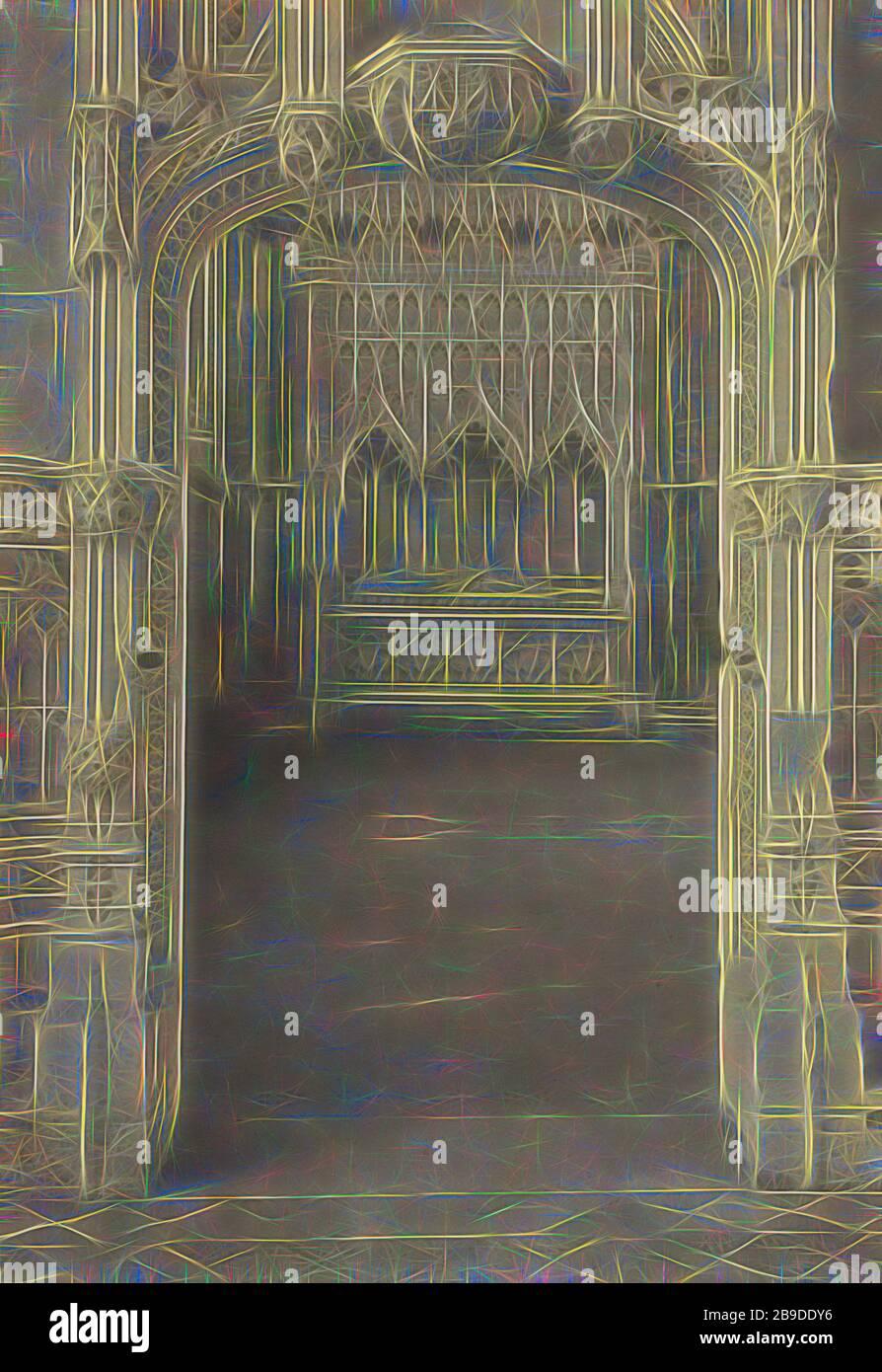 Ely Catedral: Capilla del Obispo Alcock, Frederick H. Evans (británico, 1853 - 1943), 1897, impresión platino, 26 x 17.9 cm (10 1,4 x 7 1,16 pulg, Reimaginado por Gibon, diseño de alegre y cálida resplandor de brillo y rayos de luz. Arte clásico reinventado con un toque moderno. Fotografía inspirada en el futurismo, abrazando la energía dinámica de la tecnología moderna, el movimiento, la velocidad y la revolución de la cultura. Foto de stock