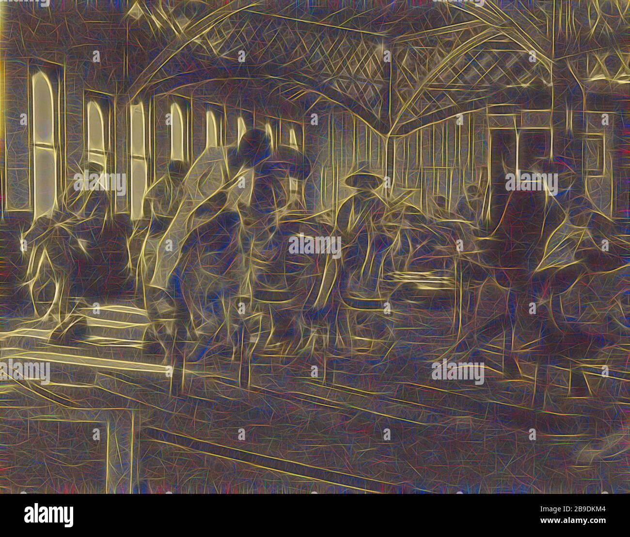 Gente montando en un carrusel, Louis Fleckenstein (americano, 1866 - 1943), cerca de 1910, impresión de bicromato de goma de sepia tonificada, 26.7 x 33.8 cm (10 1,2 x 13 5,16 pulg, Reimaged by Gibon, diseño de brillo alegre cálido y rayos de luz. Arte clásico reinventado con un toque moderno. Fotografía inspirada en el futurismo, abrazando la energía dinámica de la tecnología moderna, el movimiento, la velocidad y la revolución de la cultura. Foto de stock