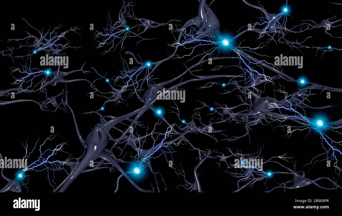 Células cerebrales con fuego eléctrico de neuronas. Foto de stock