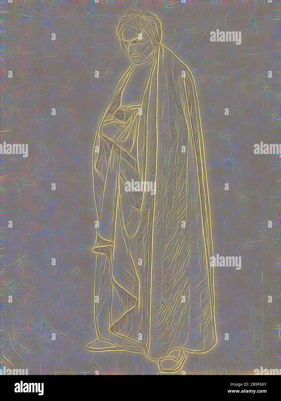 Joseph Wintergerst en una capa de suelo largo, Wilhelm von Schadow (alemán, 1788 - 1862), Italia, alrededor de 1811 - 1813, grafito, 29.5 x 22 cm (11 5,8 x 8 11,16 pulg, Reimaged by Gibon, diseño de cálido y alegre resplandor de brillo y rayos de luz. Arte clásico reinventado con un toque moderno. Fotografía inspirada en el futurismo, abrazando la energía dinámica de la tecnología moderna, el movimiento, la velocidad y la revolución de la cultura. Foto de stock