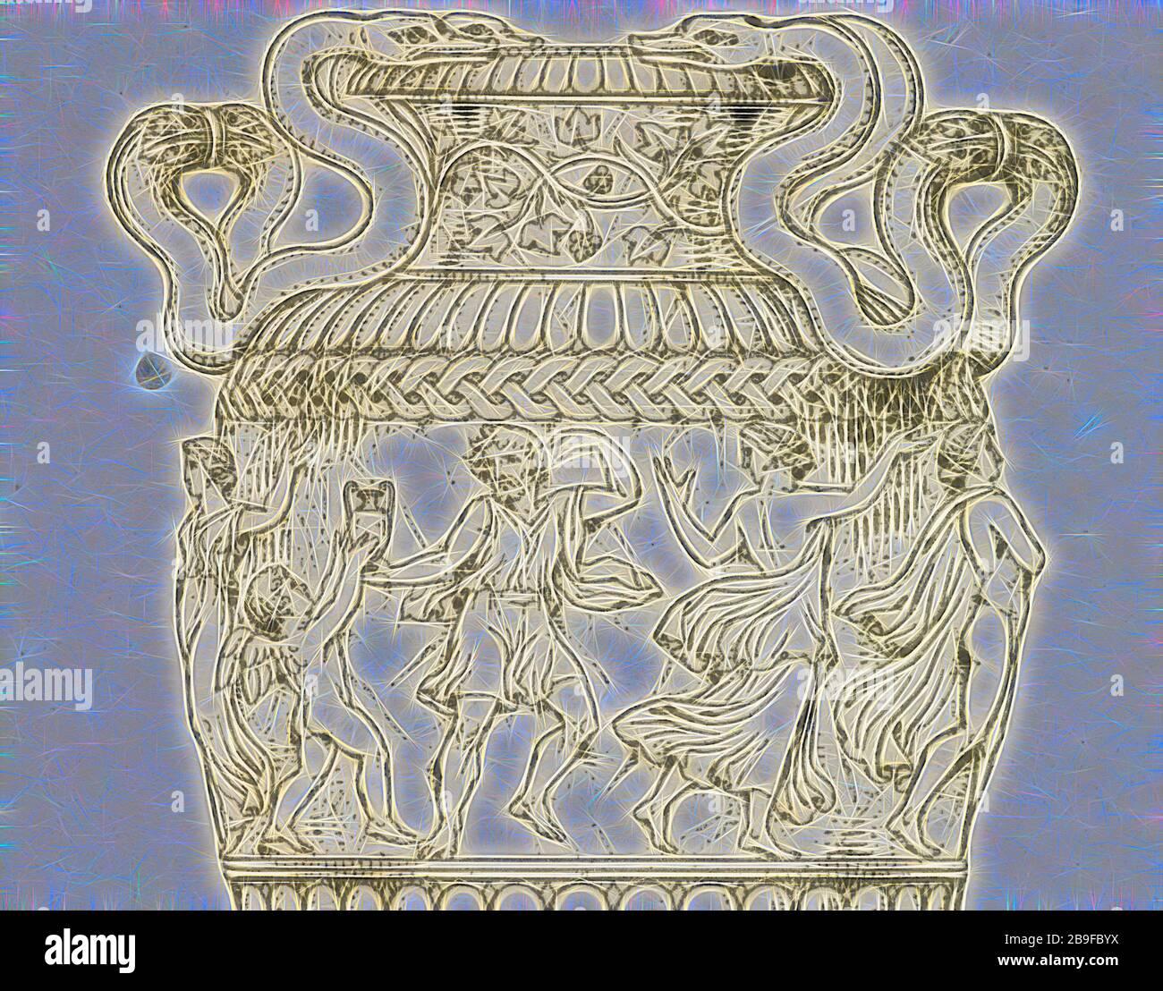 Placa 39. De un florero en una Colección privada en Roma, una colección de jarrones antiguos, altares, pateras, trípodes, candelabra, sarcófagos, andc. De varios museos y colecciones, Baber, Henry Hervey, 1775-1869, Moses, Henry, 1782?-1870, Grabado, 1811-1814, placa 39, vista detallada. Esta no es una vista general de la placa 39, Reimaged by Gibon, diseño de cálido y alegre brillo de la luminosidad y la radiación de los rayos de luz. Arte clásico reinventado con un toque moderno. Fotografía inspirada en el futurismo, abrazando la energía dinámica de la tecnología moderna, el movimiento, la velocidad y la revolución de la cultura. Foto de stock