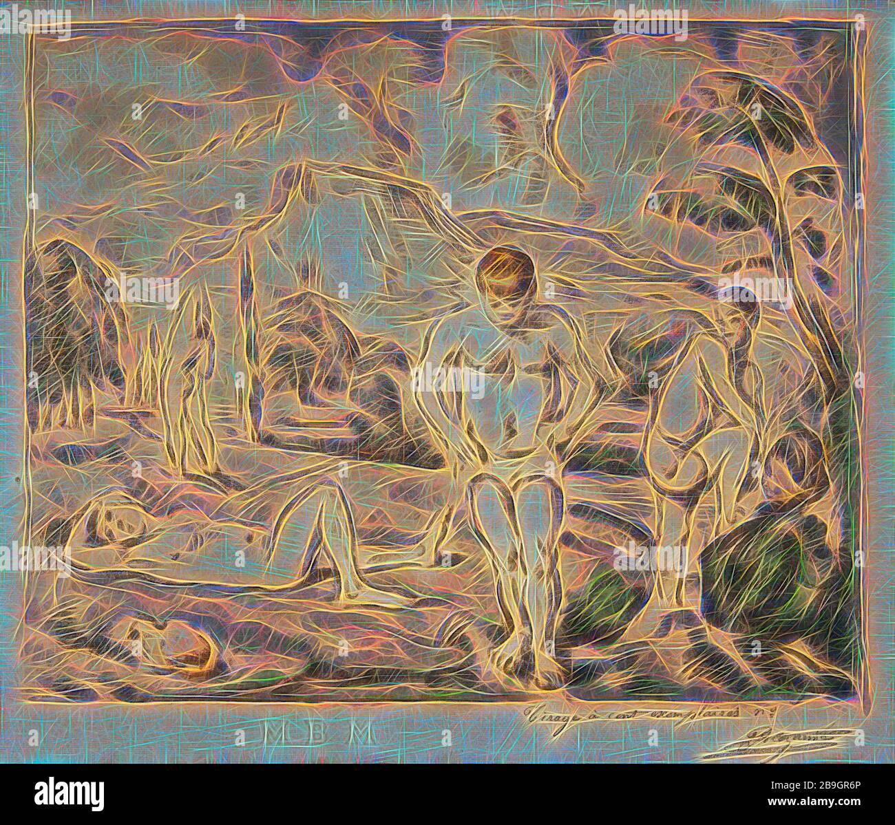 Paul Cézanne, Auguste Clot: Los grandes bañistas, Paul Cézanne, Auguste Clot, probablemente 1898, Litografía impresa en múltiples colores sobre papel colocado, total: 19 1/8 x 25 pulg. (48.6 x 63.5 cm) Foto de stock