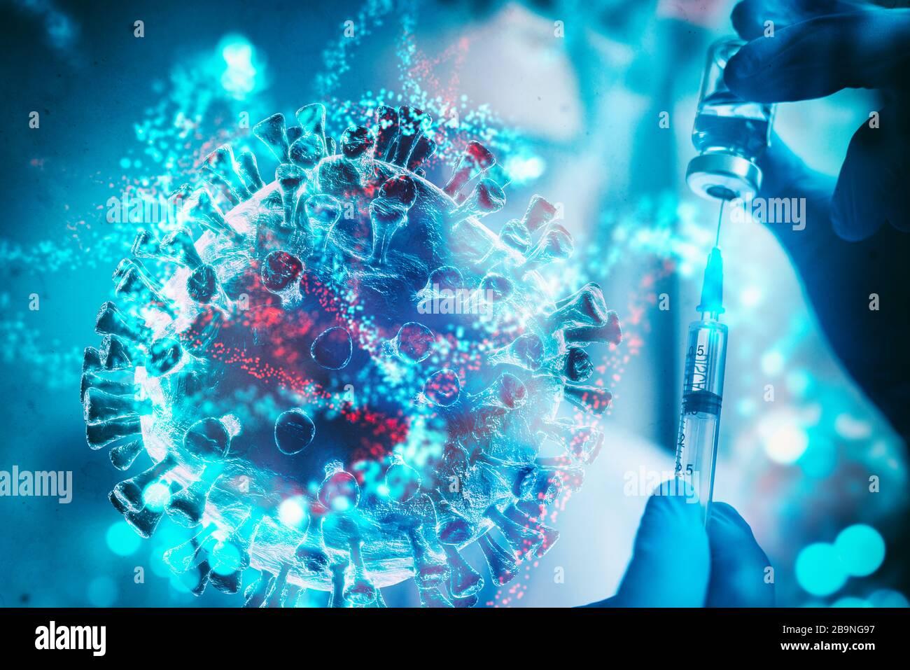 Investigación y desarrollo de vacunas contra enfermedades causadas por el virus Foto de stock