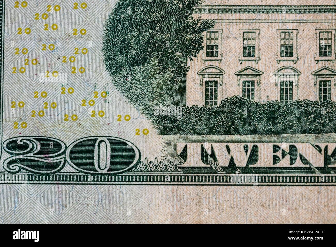 Primer plano detalle macro de billetes en dólares estadounidenses, foto detallada de dólares estadounidenses. Concepto monetario mundial, inflación y concepto económico Foto de stock