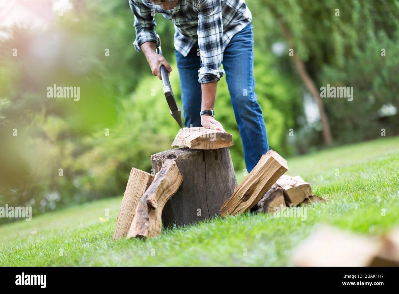 Hombre maduro trabajando en el jardín Foto de stock