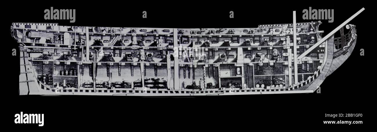 Buque de guerra naval del siglo XVIII o buque de la línea. Sección de tres barajas de barco. Aislado. Foto de stock