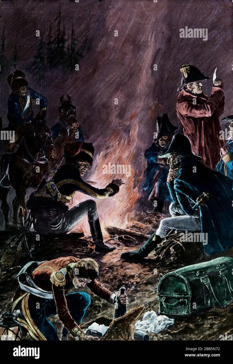 Ilustraciones de animación de campañas militares inglesas y francesas y escenarios de guerra alrededor de 1800 para incluir la Revolución Francesa y las guerras napoleónicas. Estas ilustraciones fueron creadas alrededor de 1900 Foto de stock