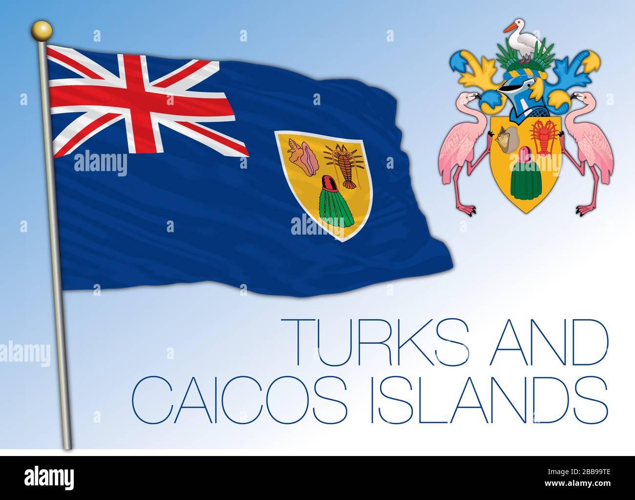 Bandera Nacional Oficial Y Escudo De Armas De Las Islas Turcas Y