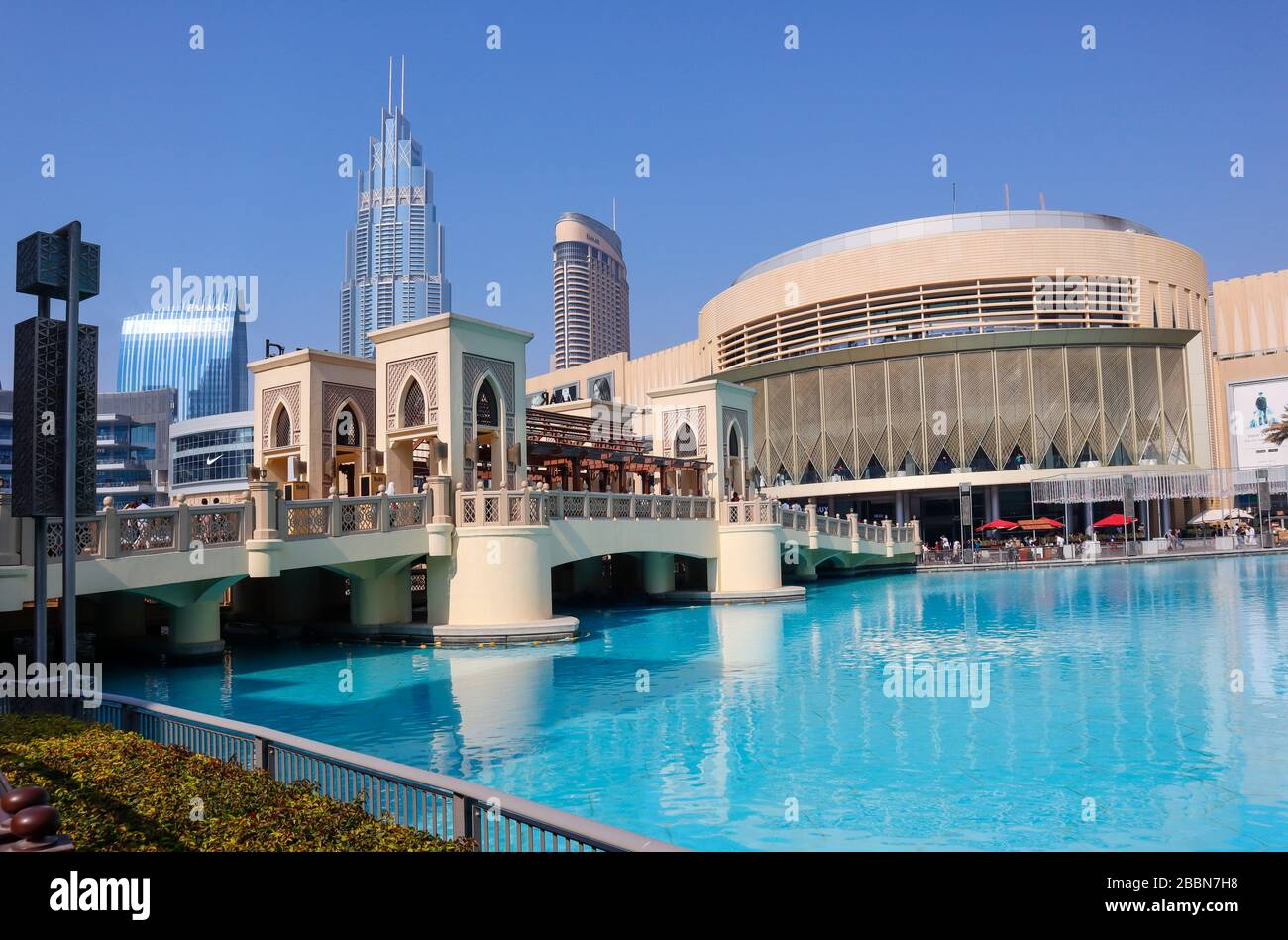 La fuente de Dubai, Burj Khalifa Lake Foto de stock