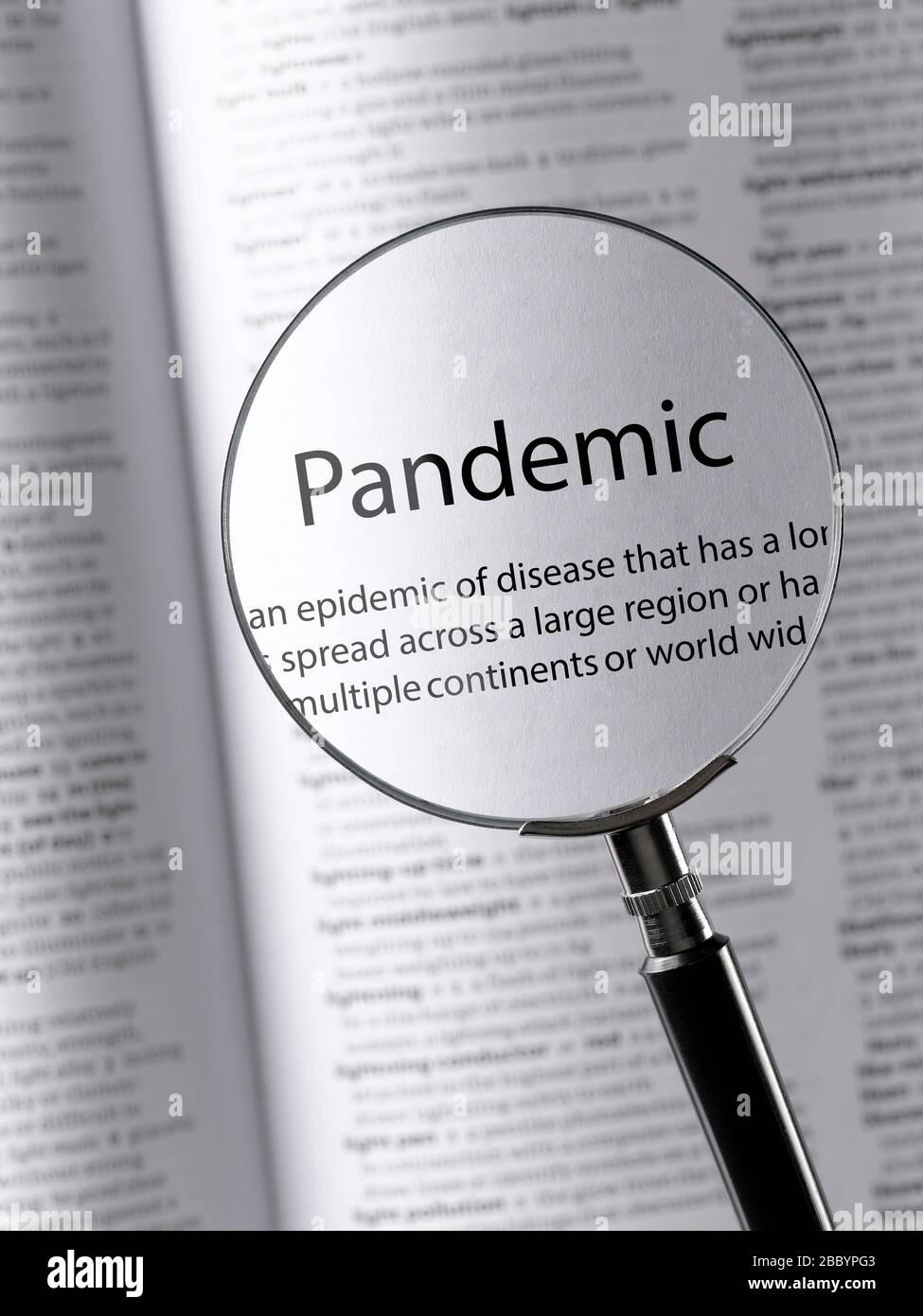 Pandemia en un diccionario Foto de stock