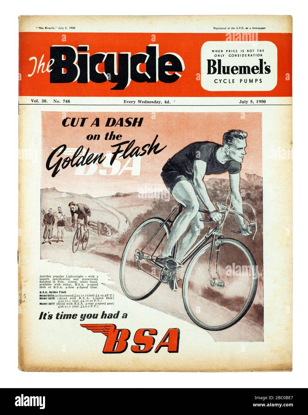 "Revista británica de ciclismo ""The Bicycle"" de julio de 1950 Foto de stock"