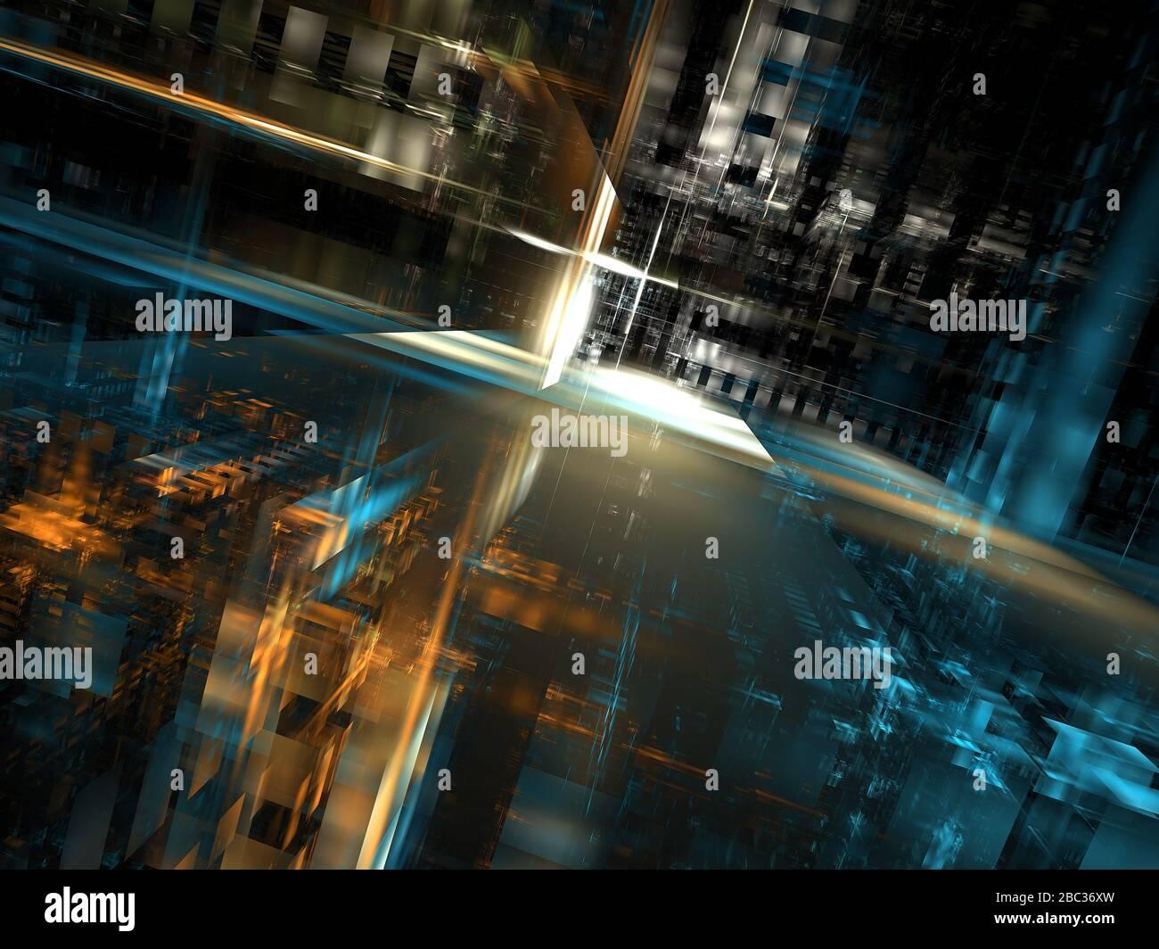 Calle futurista abstracta: Ilustración 3d generada digitalmente Foto de stock