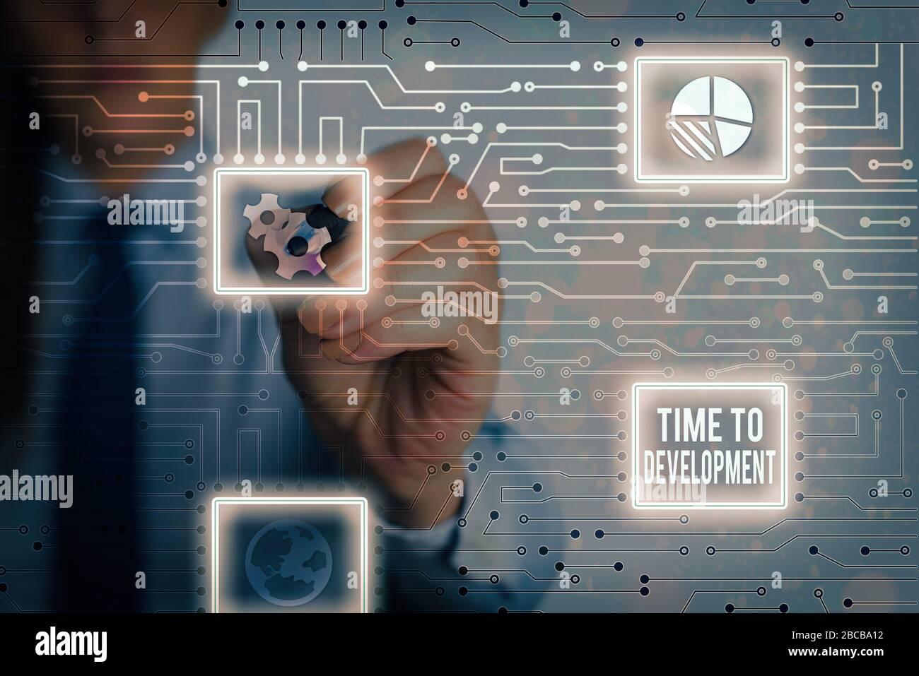Tiempo de escritura de texto de Word para el desarrollo. Foto de negocios presenta una longitud de tiempo durante el cual una empresa crece o desarrollar Foto de stock