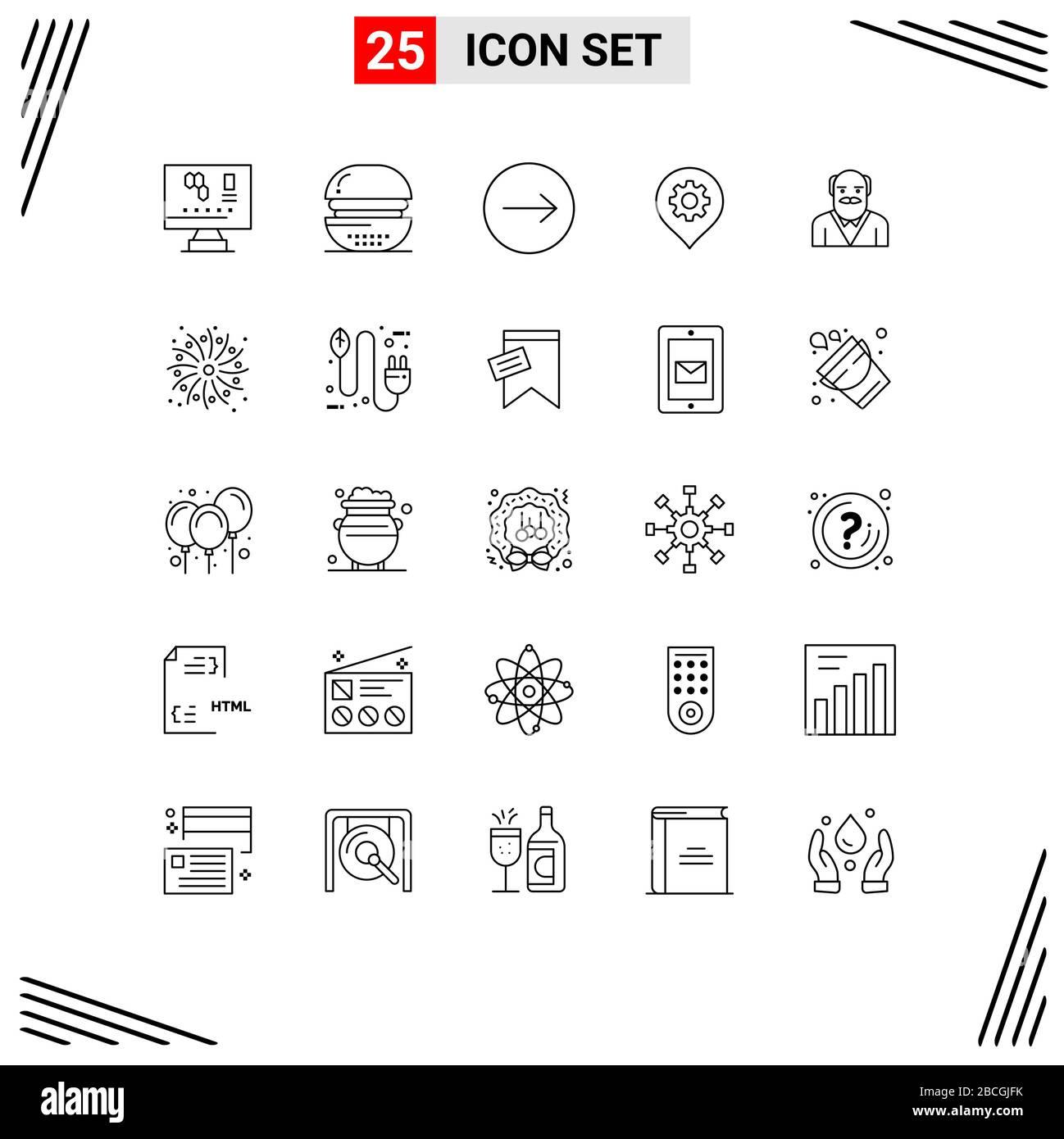 25 concepto de línea para sitios web móviles y aplicaciones padre, mapa, comida, ubicación, engranaje elementos de diseño vectorial editables Ilustración del Vector