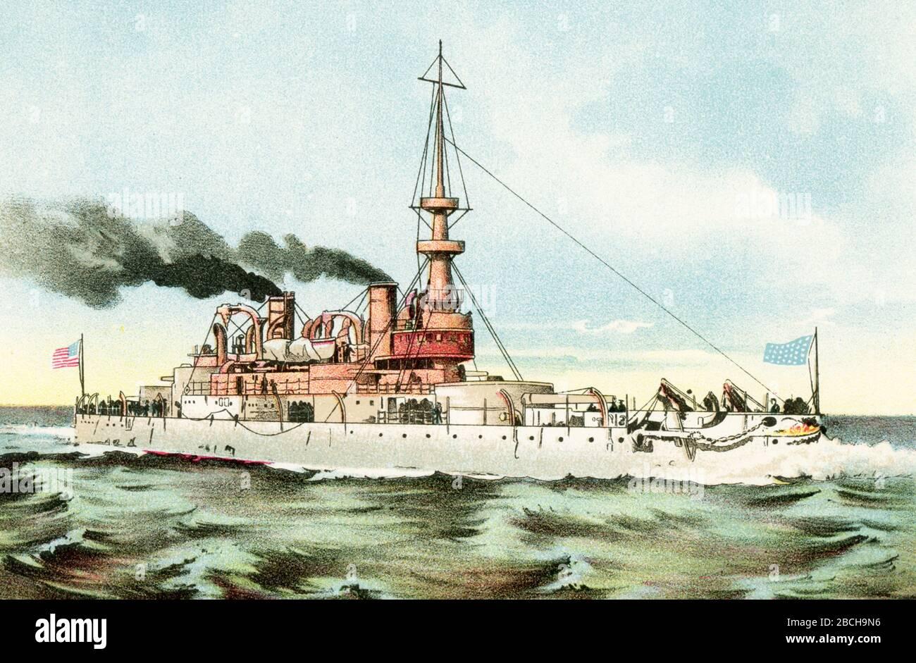 Esta ilustración muestra el acorazado Indiana de los Estados Unidos. USS Indiana (BB-1) fue el buque principal de su clase y el primer acorazado de la Marina de los Estados Unidos comparable a los acorazados extranjeros de la época. Autorizada en 1890 y encargada cinco años más tarde, era una pequeña acorazada, aunque con pesadas armaduras y municiones. Indiana sirvió en la Guerra Hispano-Americana (1898) como parte del Escuadrón del Atlántico Norte. Otro Monitor de los Estados Unidos fue el Miantonomoh. La clase Miantonomoh era una serie de monitores de la Marina de los EE.UU. Fueron construidos durante la Guerra Civil de los EE.UU., pero sólo un barco de Foto de stock