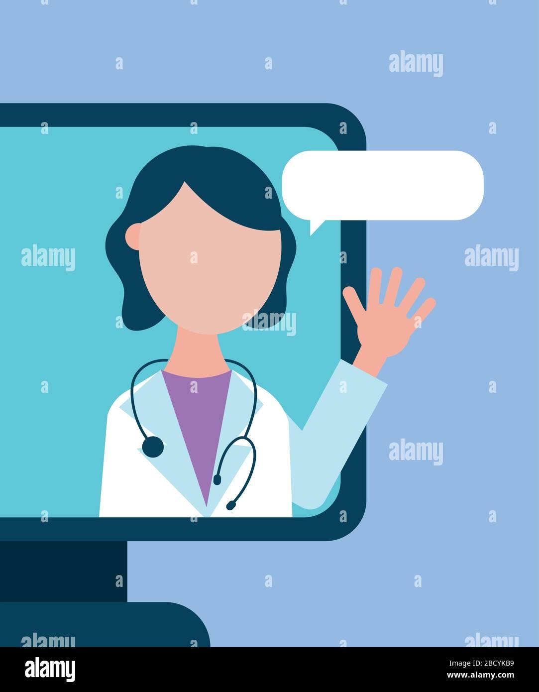 tecnología de salud en línea con médico en el escritorio Ilustración del Vector