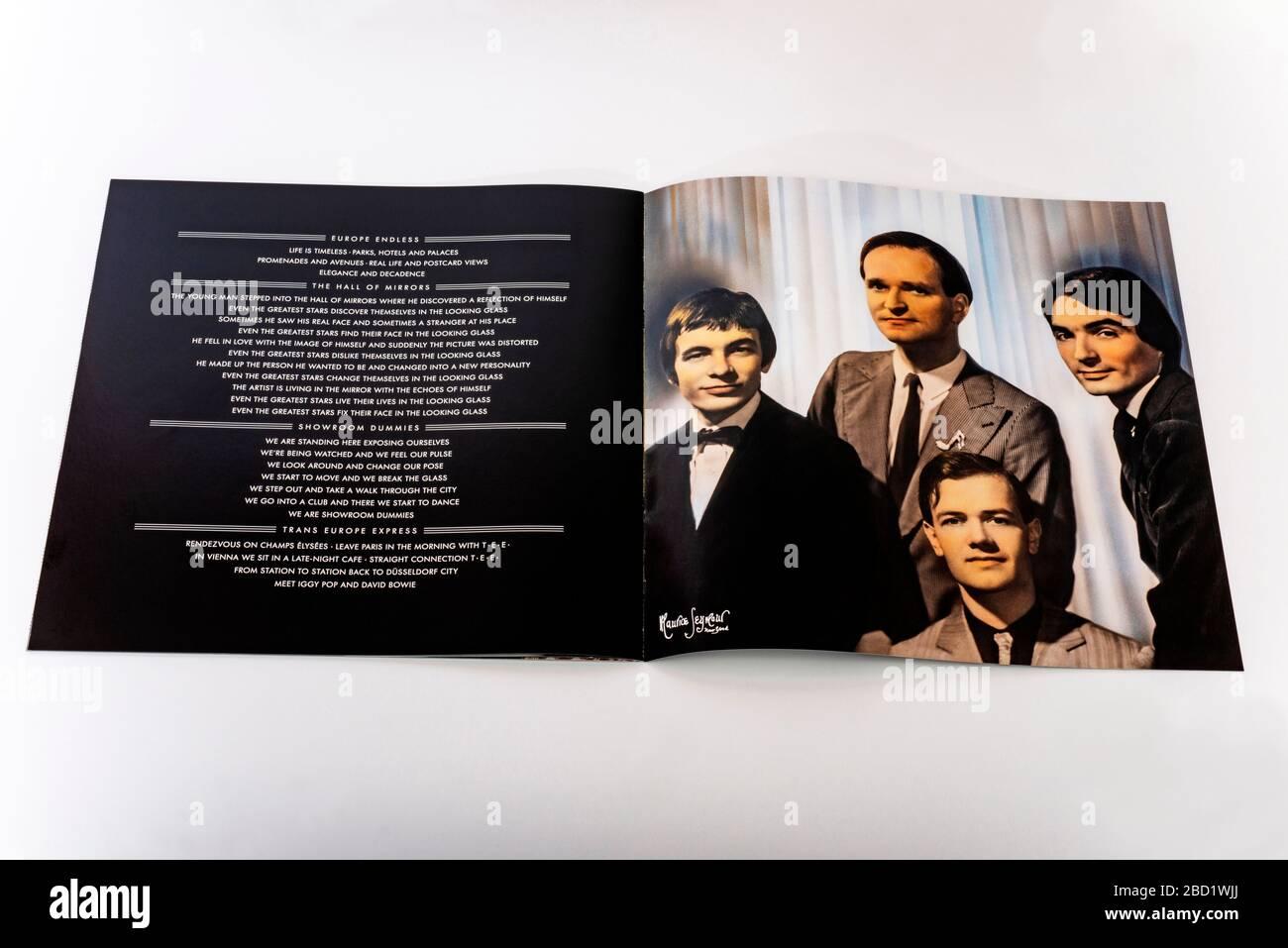 Kraftwerk Trans Europe expresa el folleto del catálogo Foto de stock