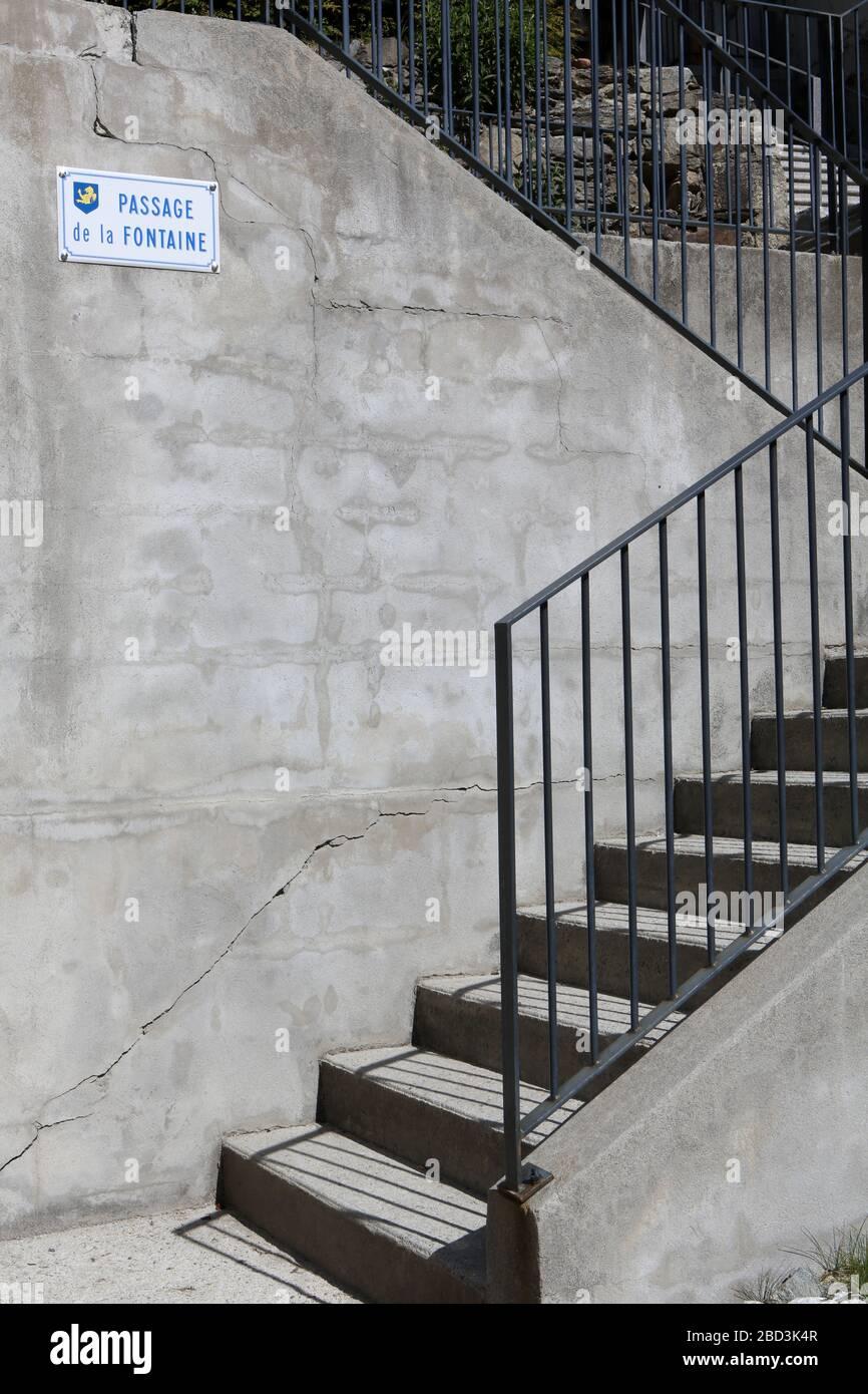 Escalier. Paso de la Fontaine. Saint-Gervais-les-Bains. Alta Saboya. Francia. Foto de stock