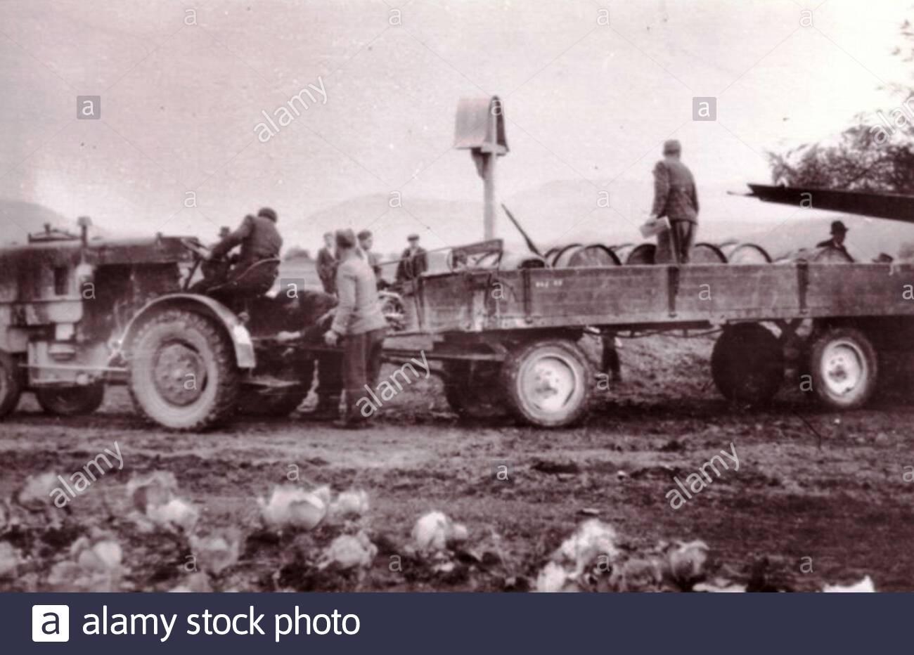 'lovenščina: Odvažanje bencina iz anglekega letala, ki je 6. 11. 1944 zasilno pristalo v Zgornji Savinjski dolini; 6 de noviembre de 1944; http://www.ce-nob.si/Collections/list/5/24?page=3; Autor desconocido; ' Foto de stock
