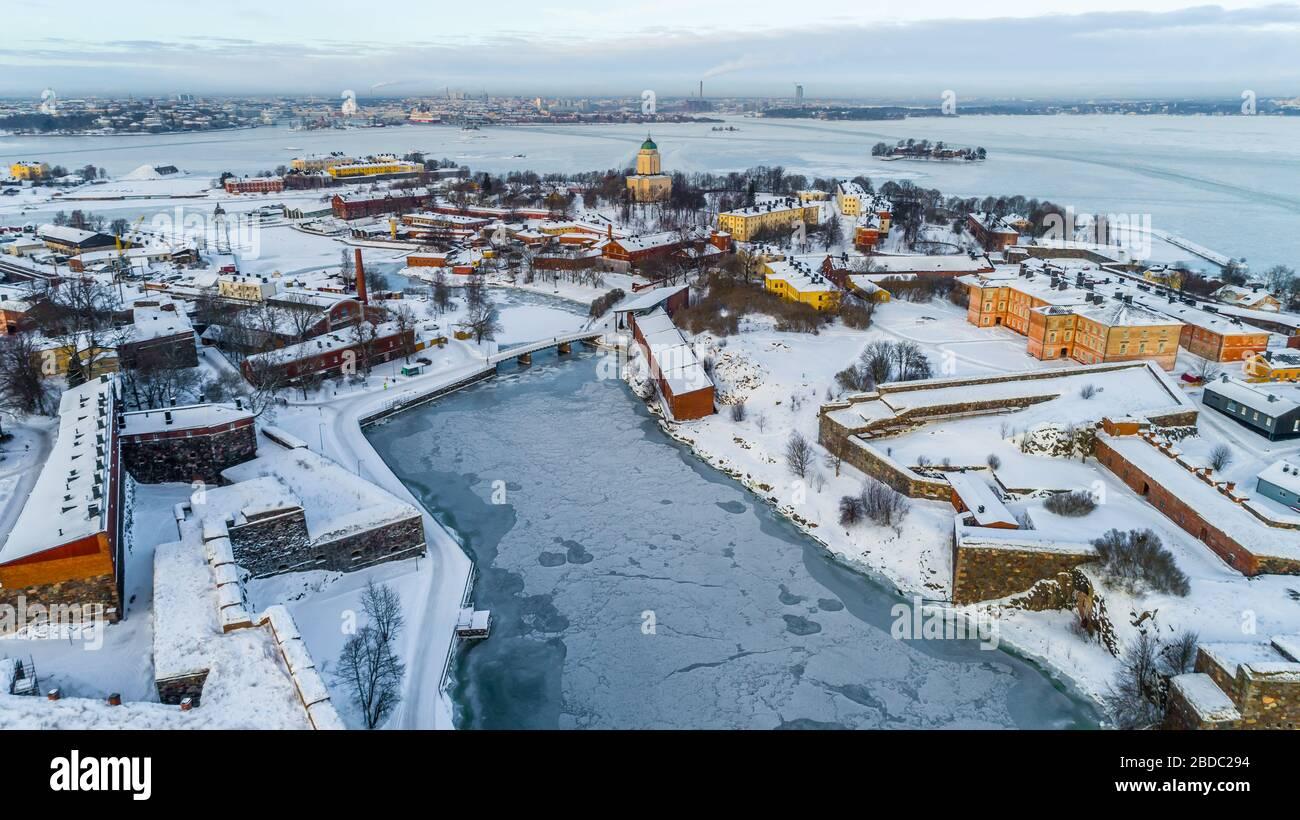 Vista invernal de Helsinki Finlandia. Foto de stock