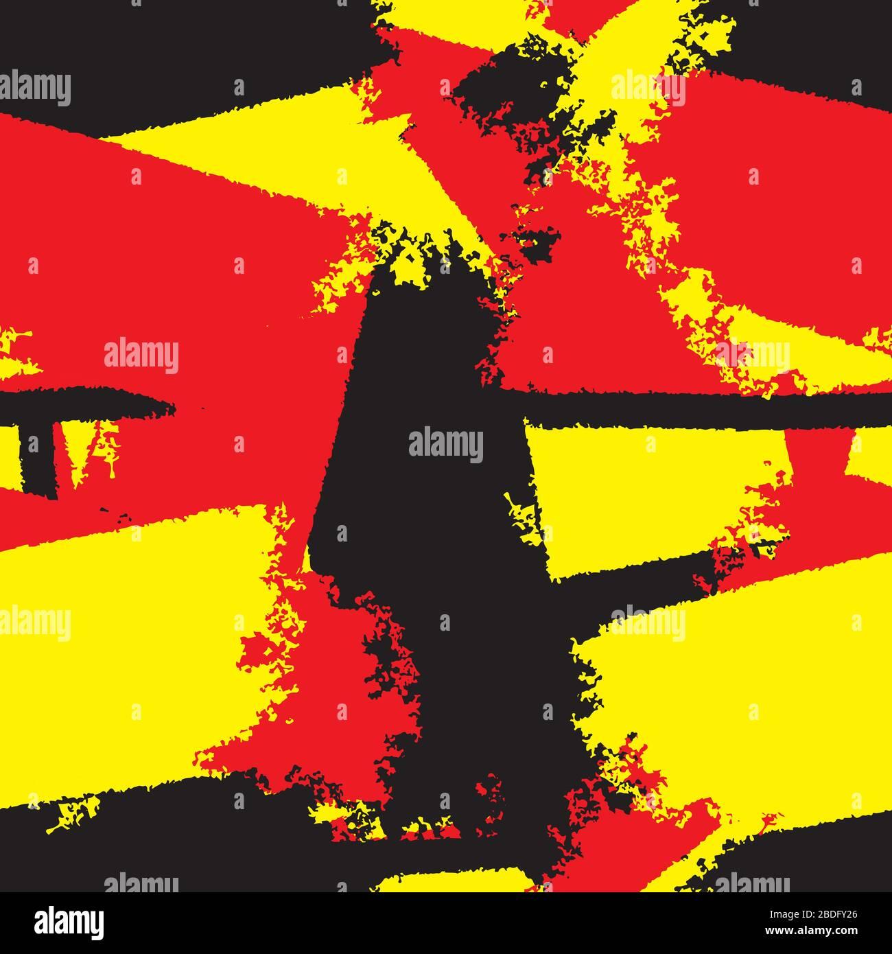 diseño abstracto sin costuras con parches de rojo negro y amarillo. Imagen vectorial Ilustración del Vector