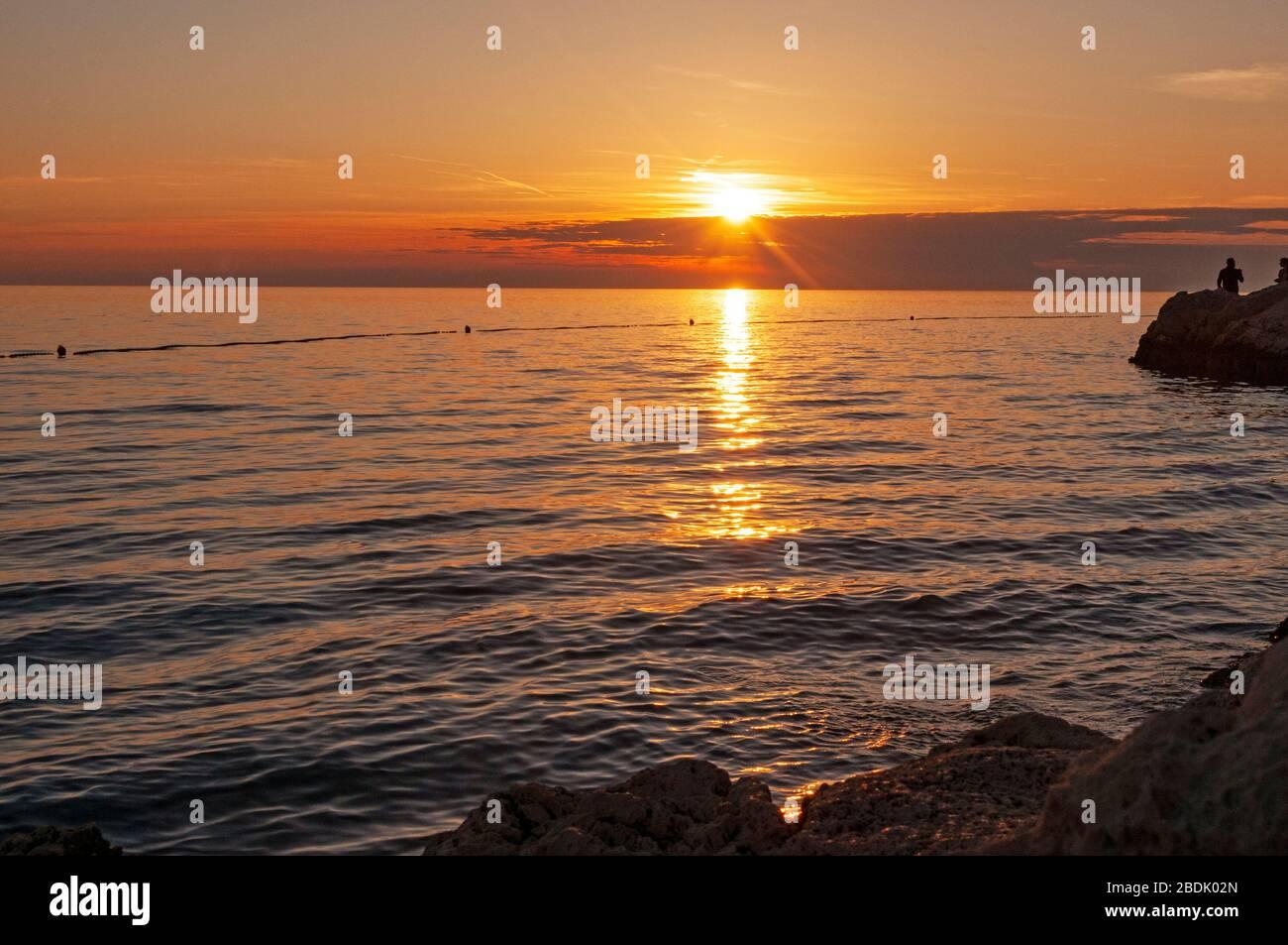 Sunset, Rovinj, Croacia Foto de stock
