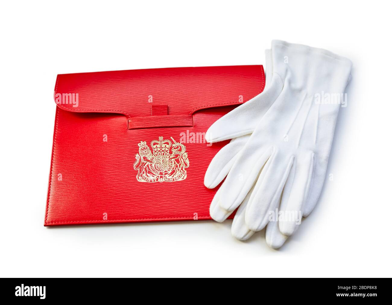 Cartas de patente y guantes blancos de un abogado de la Reina El día de Silks Foto de stock