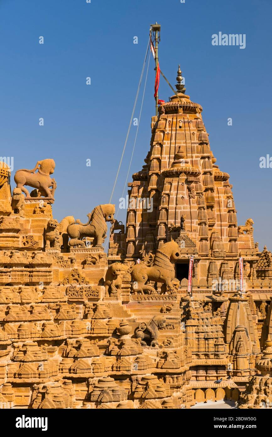Sri Chandra Prabhu Swami Jain Templo Jaisalmer fuerte Rajasthan India Foto de stock
