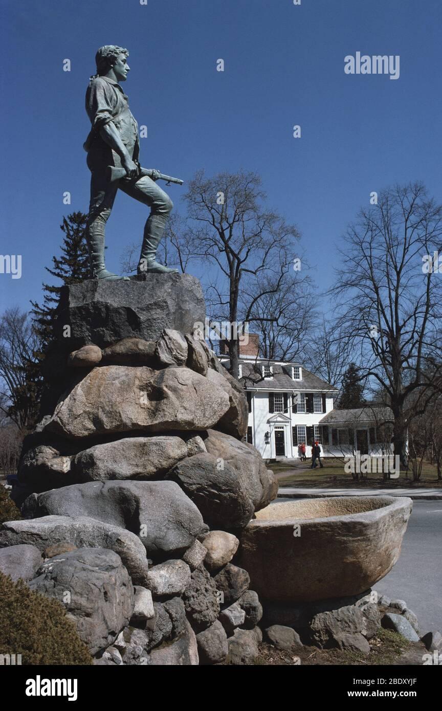 Estatua de Minuteman, Lexington, Massachusetts Foto de stock