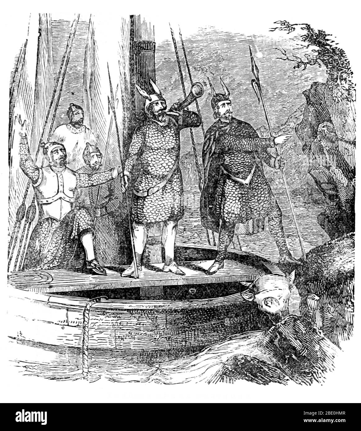 La colonización nórdica de las Américas comenzó ya en el siglo X DC, cuando los vikingos exploraron y asentaron áreas del Atlántico Norte, incluyendo las franjas nororientales de América del Norte. Los asentamientos continentales de América del Norte eran pequeños y no se transformaron en colonias permanentes. Hay evidencia del comercio nórdico con los nativos. El nórdico habría encontrado tanto a los nativos americanos como a los Thule, antepasados de los inuit. Artículos como fragmentos de peine, piezas de utensilios de cocina de hierro, piezas de ajedrez, cinceles de hierro, remaches de barcos, aviones de carpintero y fragmentos de barcos abandonados usados en barcos inuit h. Foto de stock
