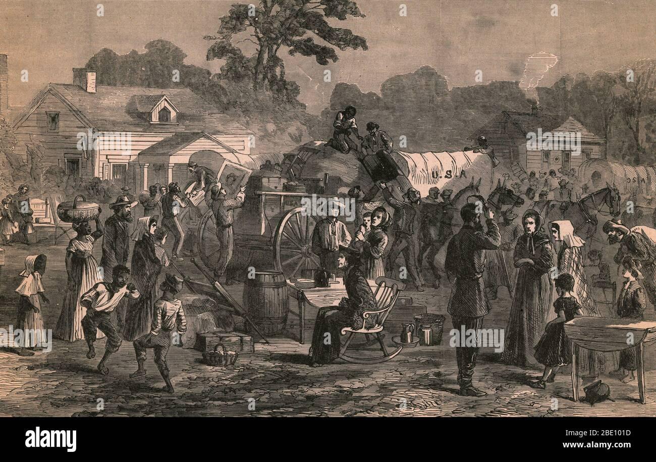 Durante la Guerra Civil Americana, Atlanta se convirtió en un blanco de la Unión y fue entregado por los Confederados después de varias batallas. Después de evacuar a civiles, el General de la Unión Sherman ordenó que la ciudad fuera incendiada en el suelo, preservando iglesias y hospitales. Esto era parte de una táctica para destruir los recursos de los Confederados. Foto de stock