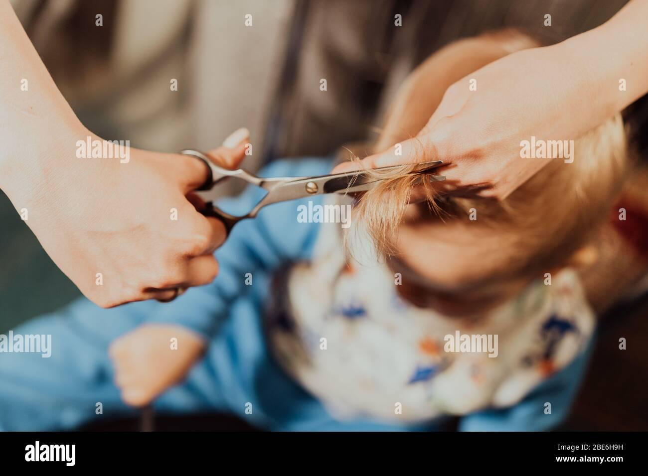 Primer corte de pelo de niño pequeño en casa por los padres. Retrato en blanco y negro. Foto de stock