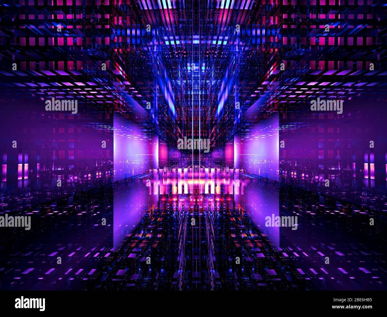 Estructura futurista - estación espacial alienígena o portal - ilustración 3d Foto de stock