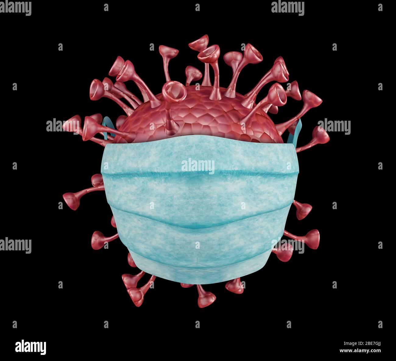 Vista microscópica de los coronavirus, un patógeno que ataca el tracto respiratorio. Análisis y ensayo, experimentación. El SRAS. 3D Render Foto de stock