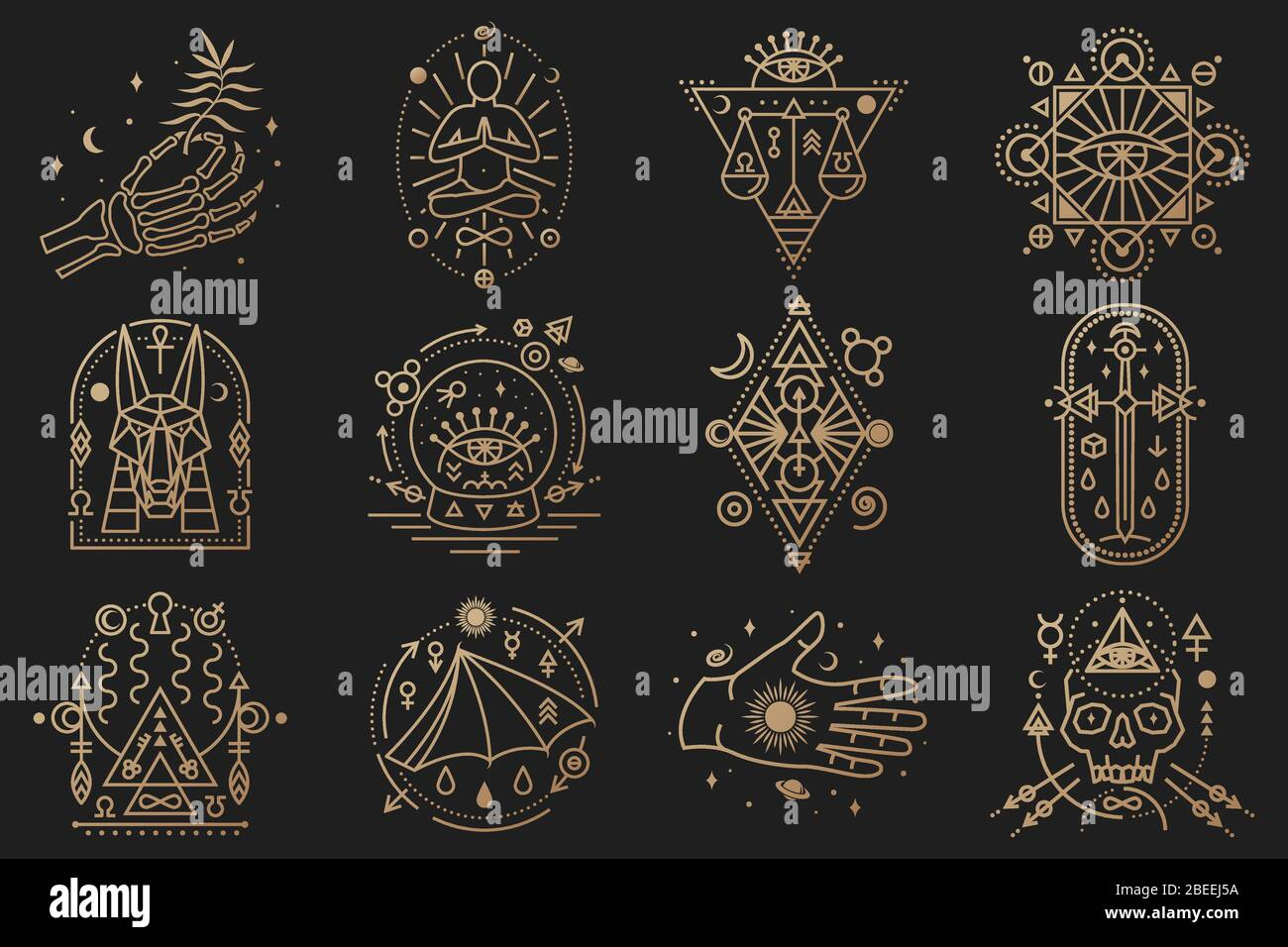 Símbolos esotéricos. Vector. Insignia geométrica de línea fina. Contorno icono de alquimia, tarot cartas, geometría sagrada. Diseño místico y mágico con estrellas, cráneo, puerta a otro mundo, luna, mano de esqueleto humano Ilustración del Vector