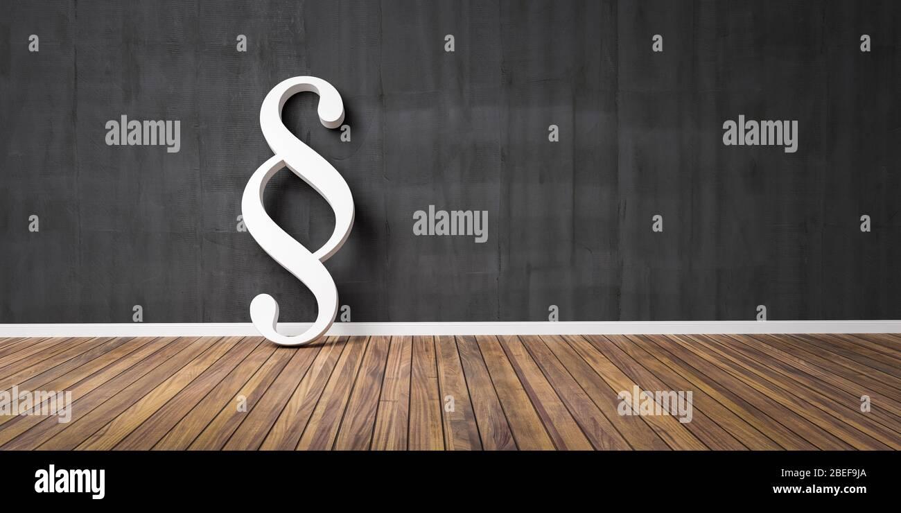 Blanco párrafo smybol contra un muro negro grunge - ley y justicia concepto imagen - 3D Ilustración Foto de stock