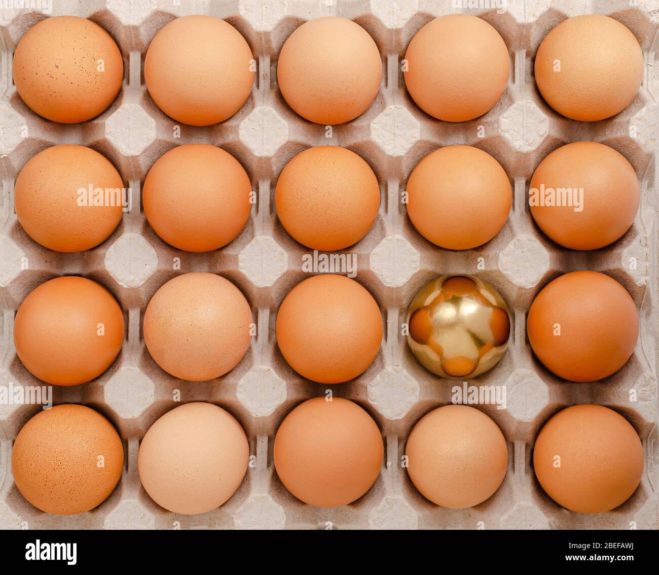 Huevo de oro. Destacar del concepto de multitud. Gastos generales Foto de stock